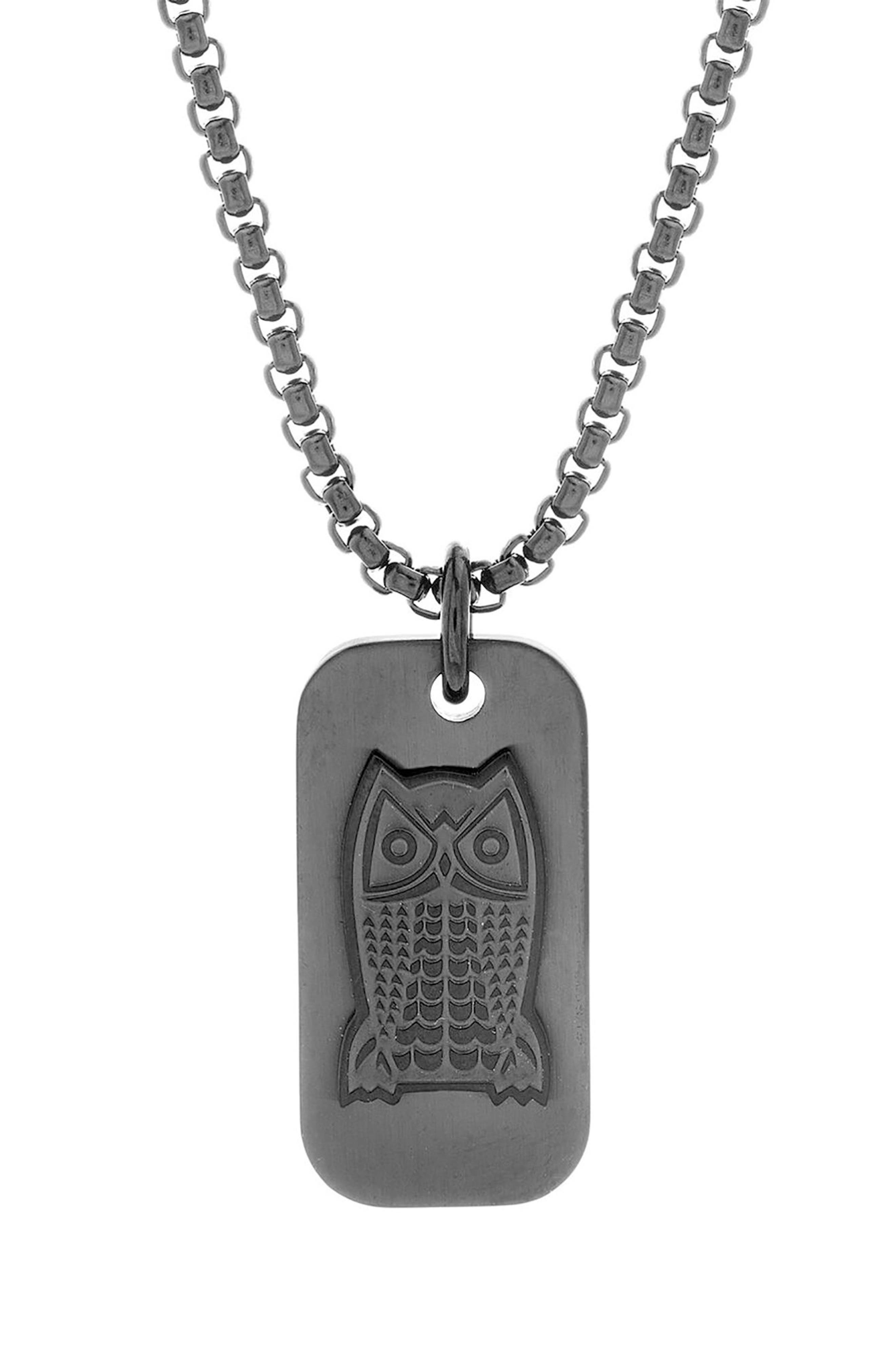 Owl Dog Tag Pendant Necklace,                             Main thumbnail 1, color,                             Black