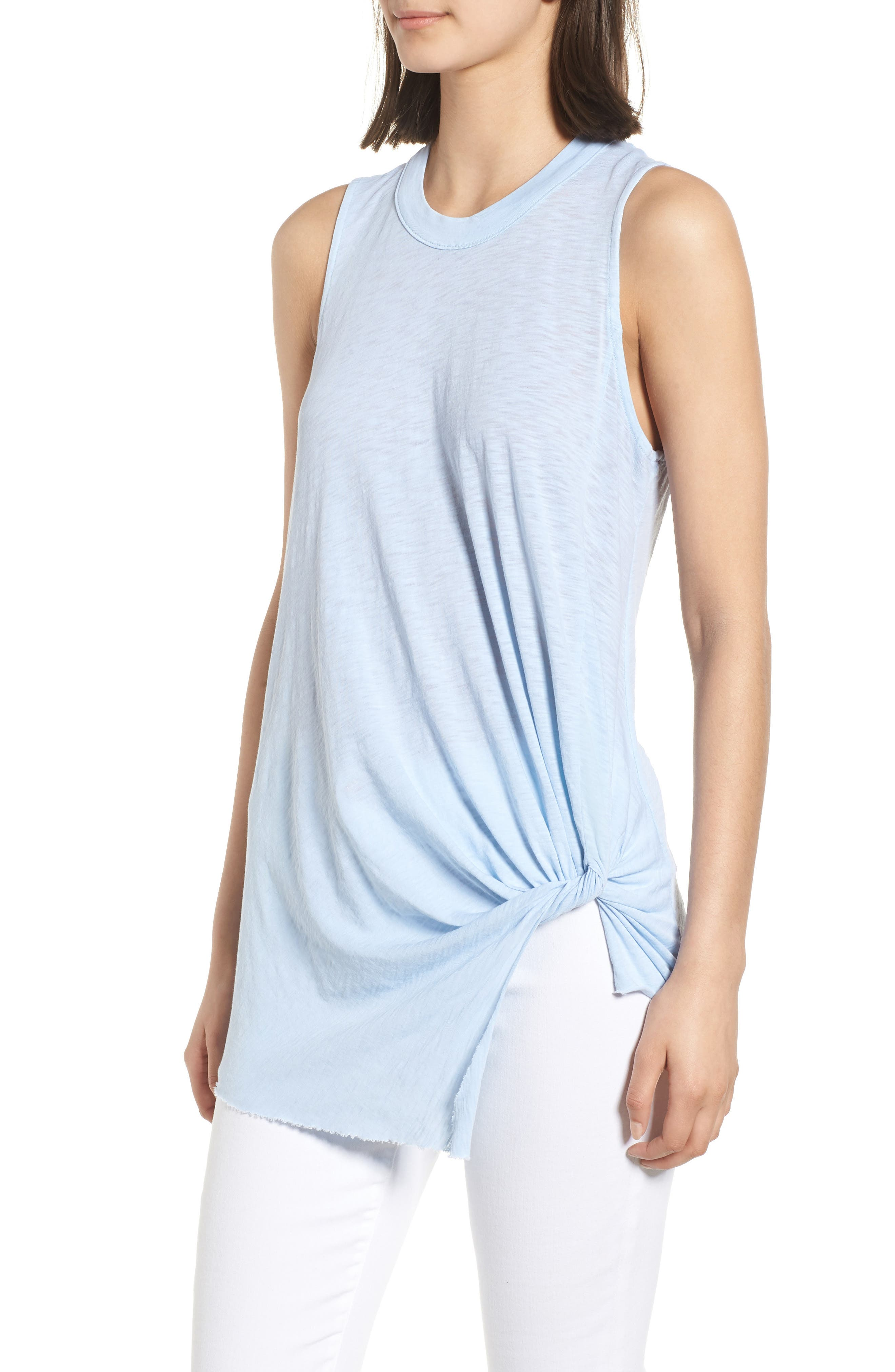 Twist Hem Slub Supima<sup>®</sup> Cotton Tank,                             Alternate thumbnail 3, color,                             Celeste