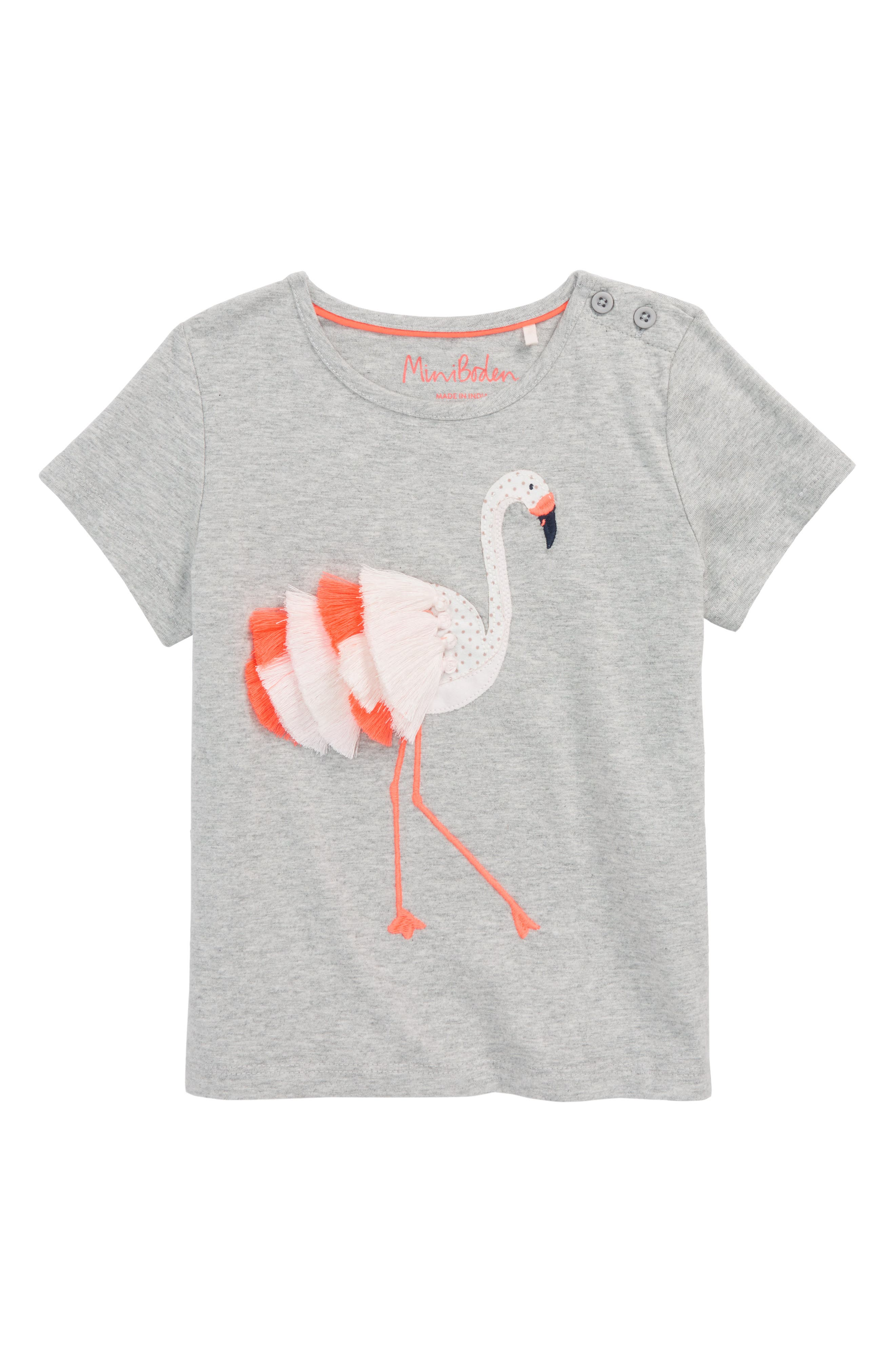 Tropical Animal Tee,                             Main thumbnail 1, color,                             Grey Marl Flamingo