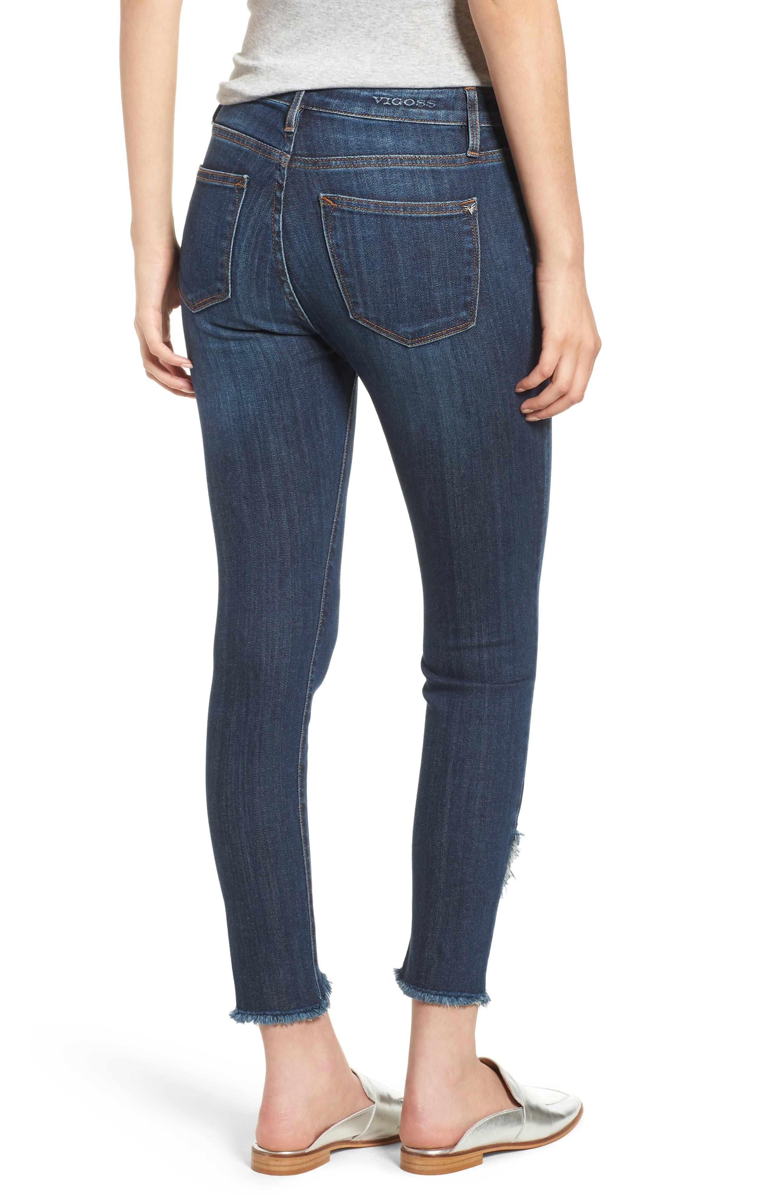 Asymmetrical Fray Hem Skinny Jeans,                             Alternate thumbnail 2, color,                             Dark Wash