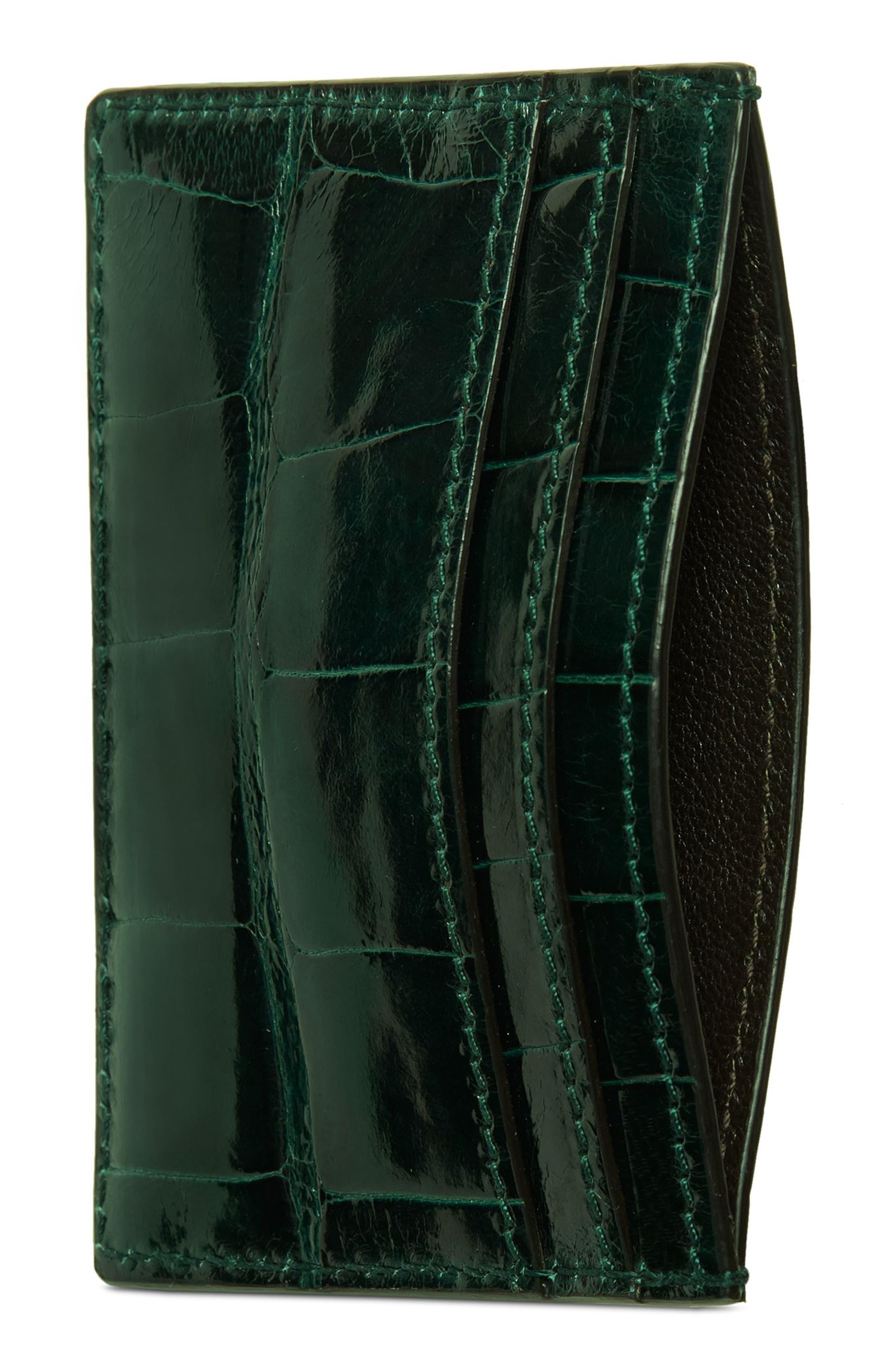 Ophidia Genuine Crocodile Card Case,                             Alternate thumbnail 2, color,                             Verde