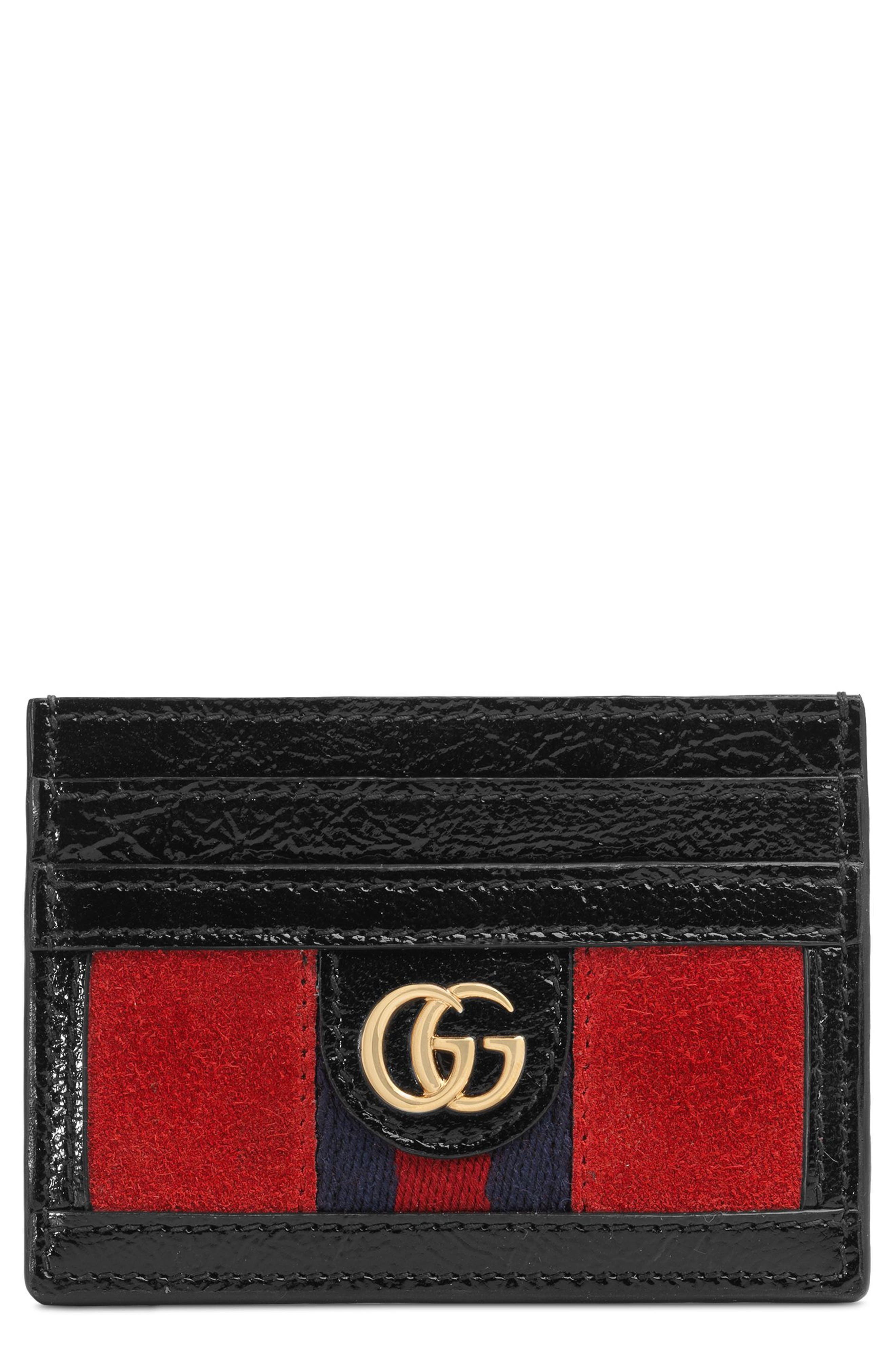 Ophidia Suede Card Case,                             Main thumbnail 1, color,                             Hibiscus Red/ Nero/ Blue