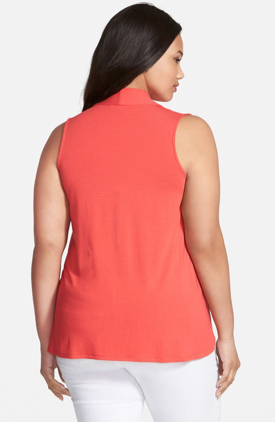 'Aryn' Sleeveless V-Neck Jersey Top,                             Alternate thumbnail 2, color,                             Hibiscus