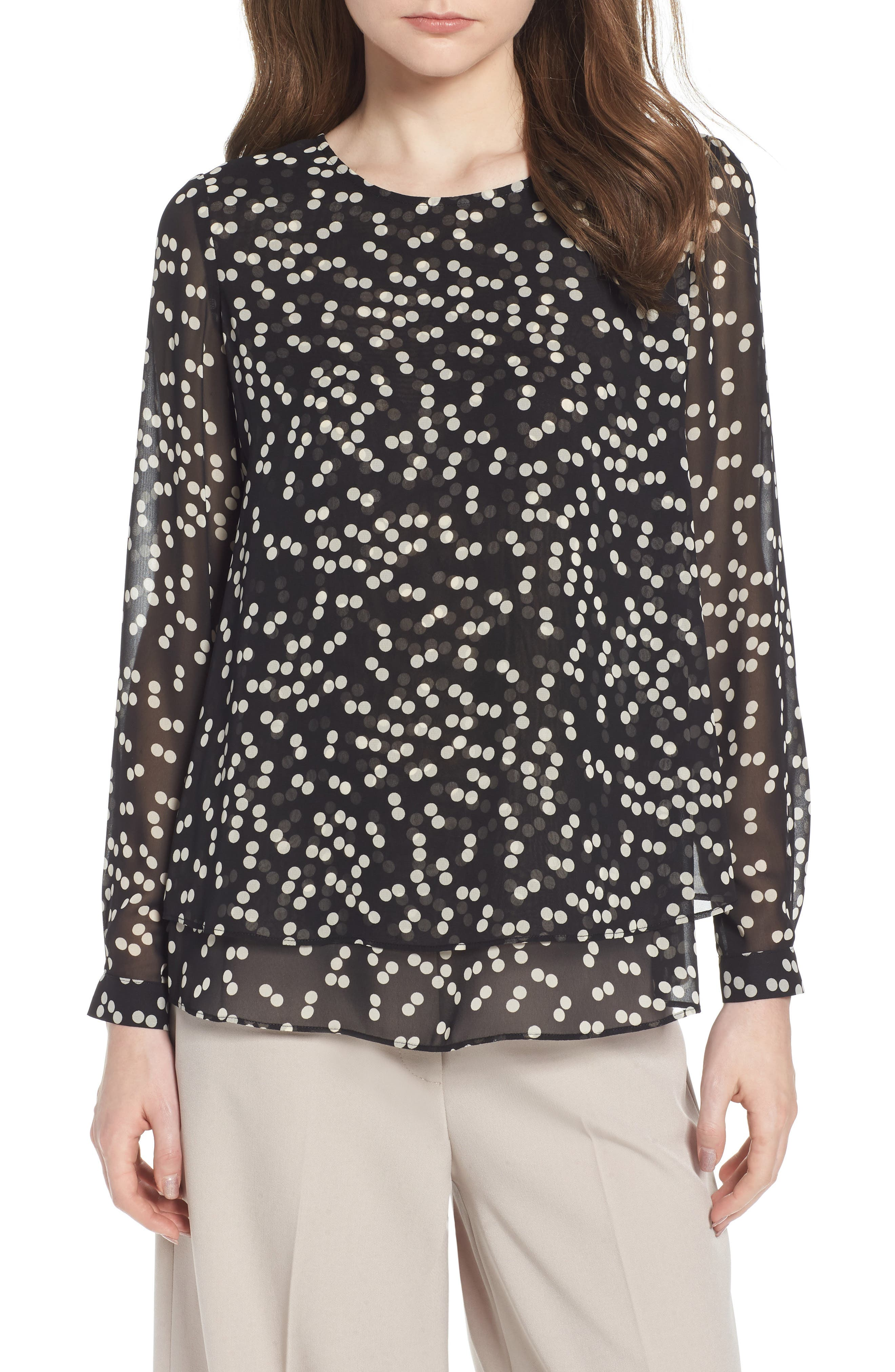 Double Layer Dot Print Blouse,                         Main,                         color, Black/ Parchment