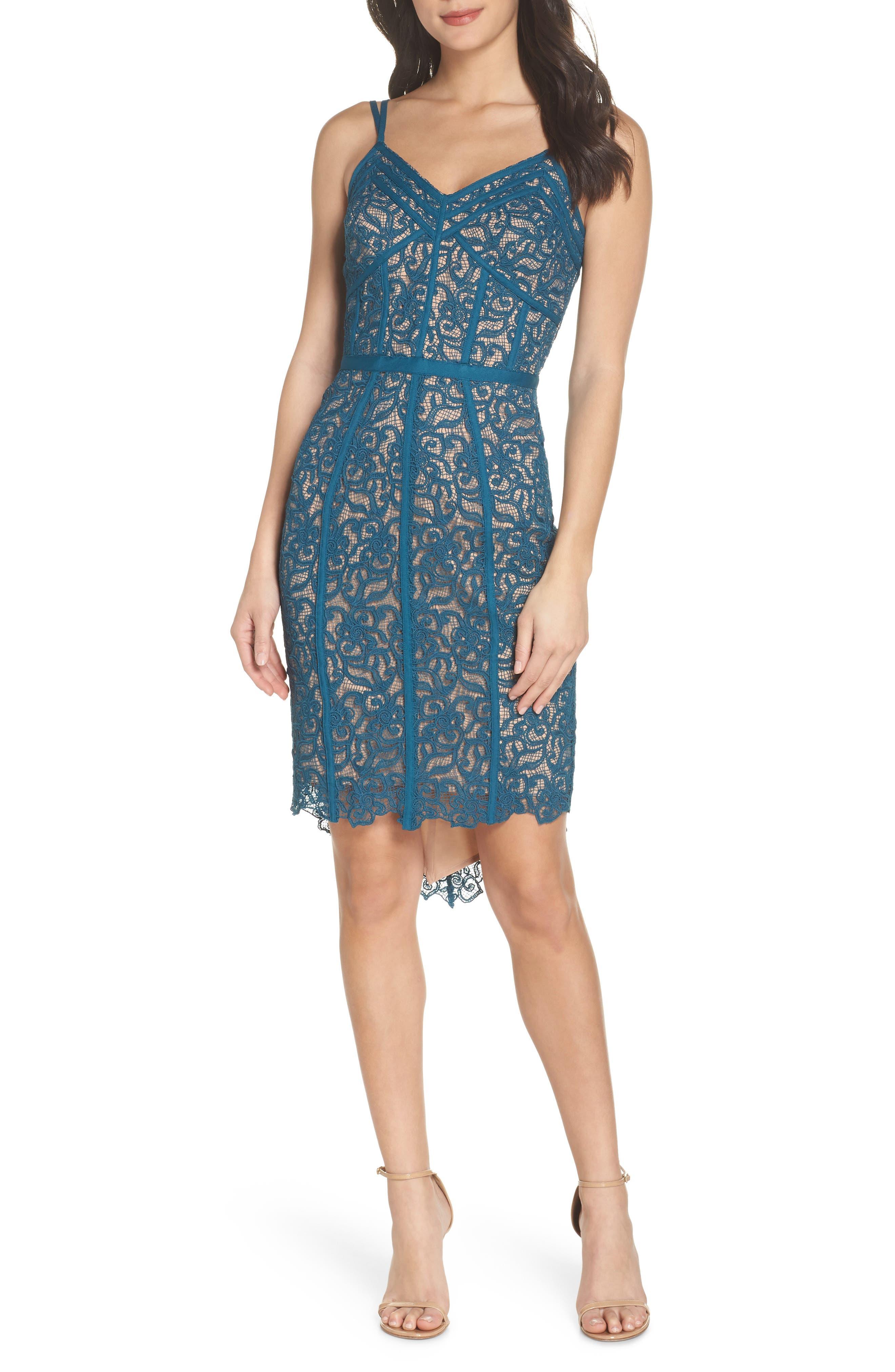High/Low Hem Lace Cocktail Dress,                             Main thumbnail 1, color,                             Teal