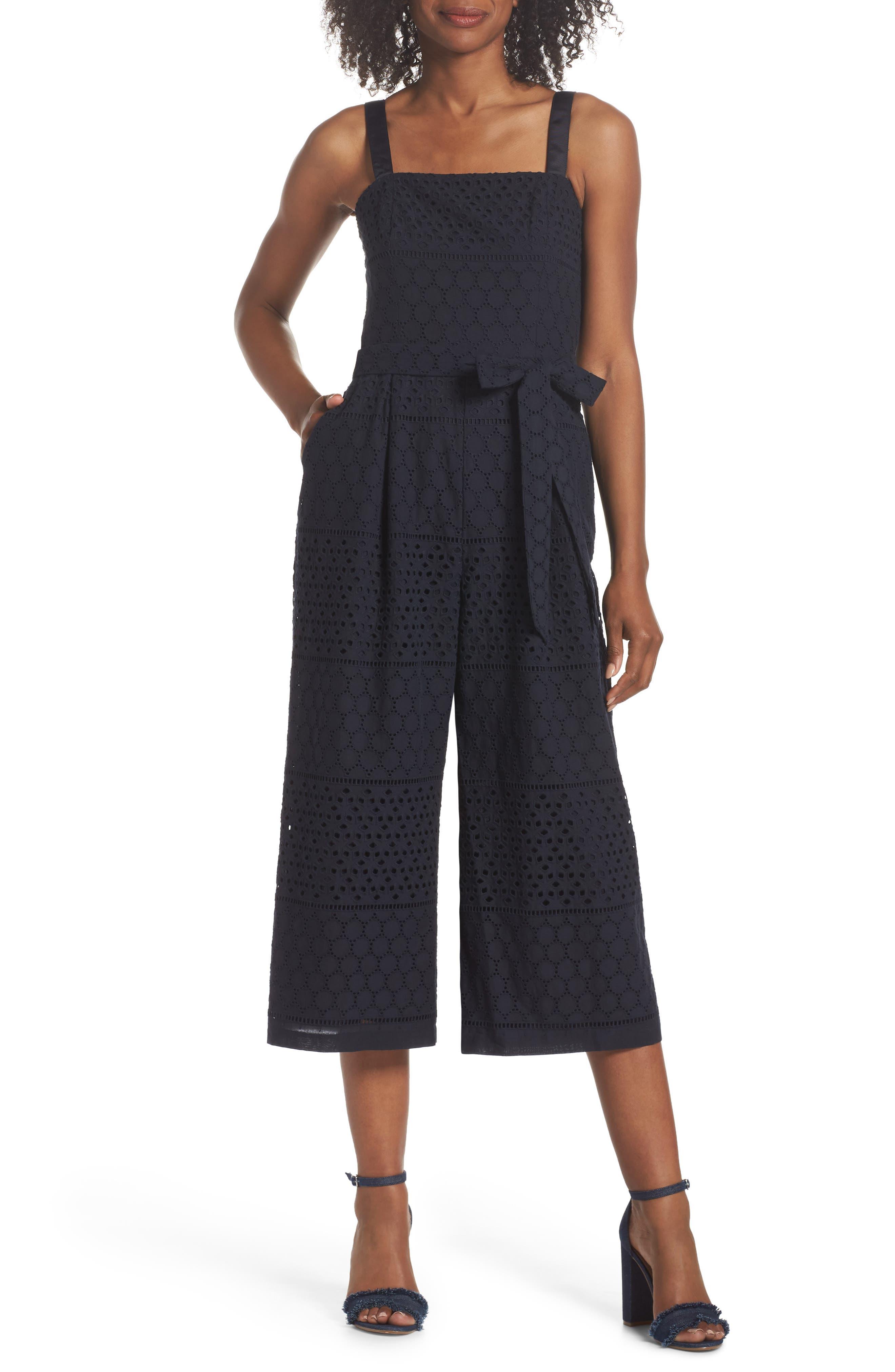 Ribbon Strap Cotton Jumpsuit,                         Main,                         color, Navy