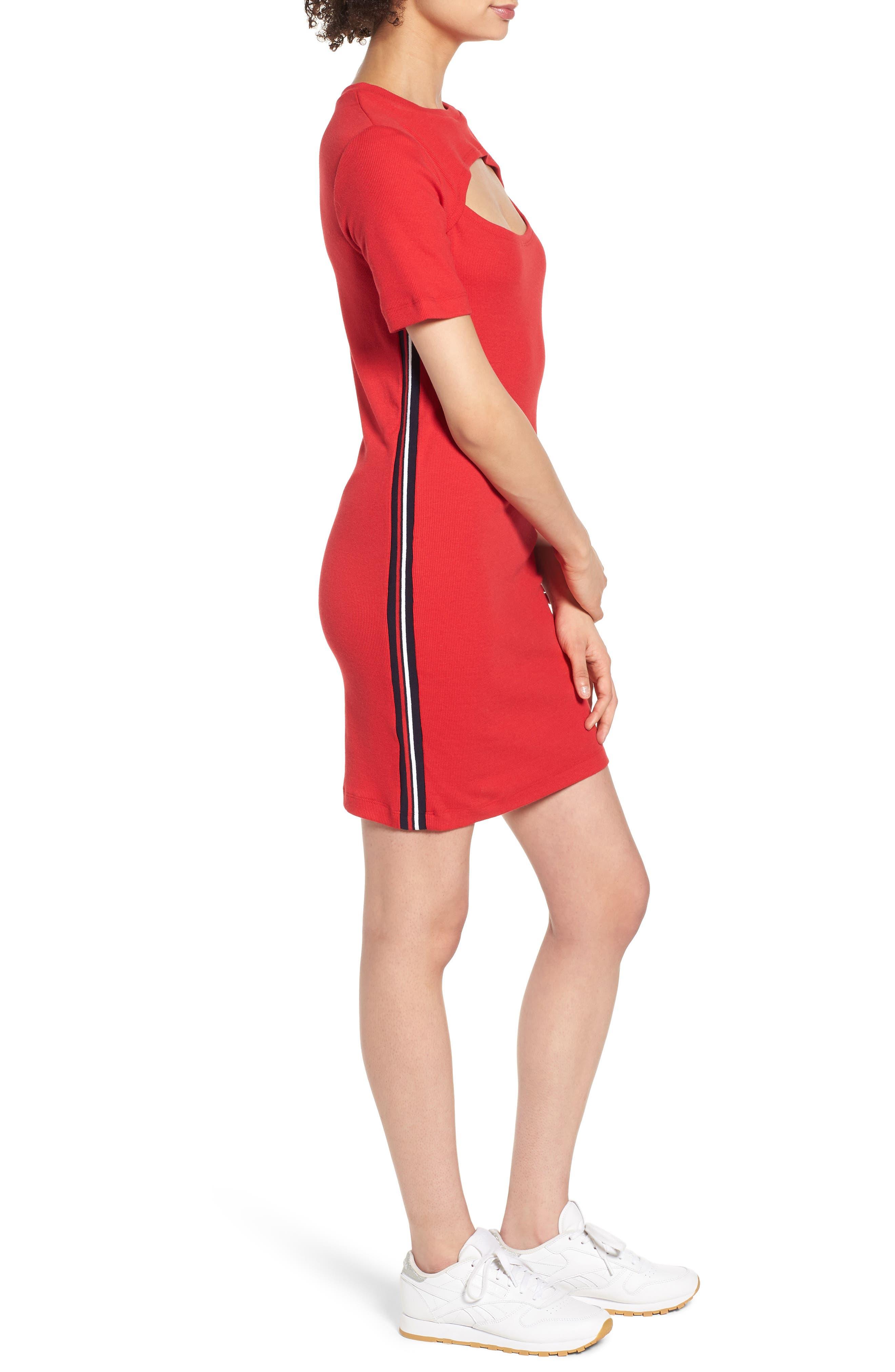 Cutout Dress,                             Alternate thumbnail 3, color,                             Red