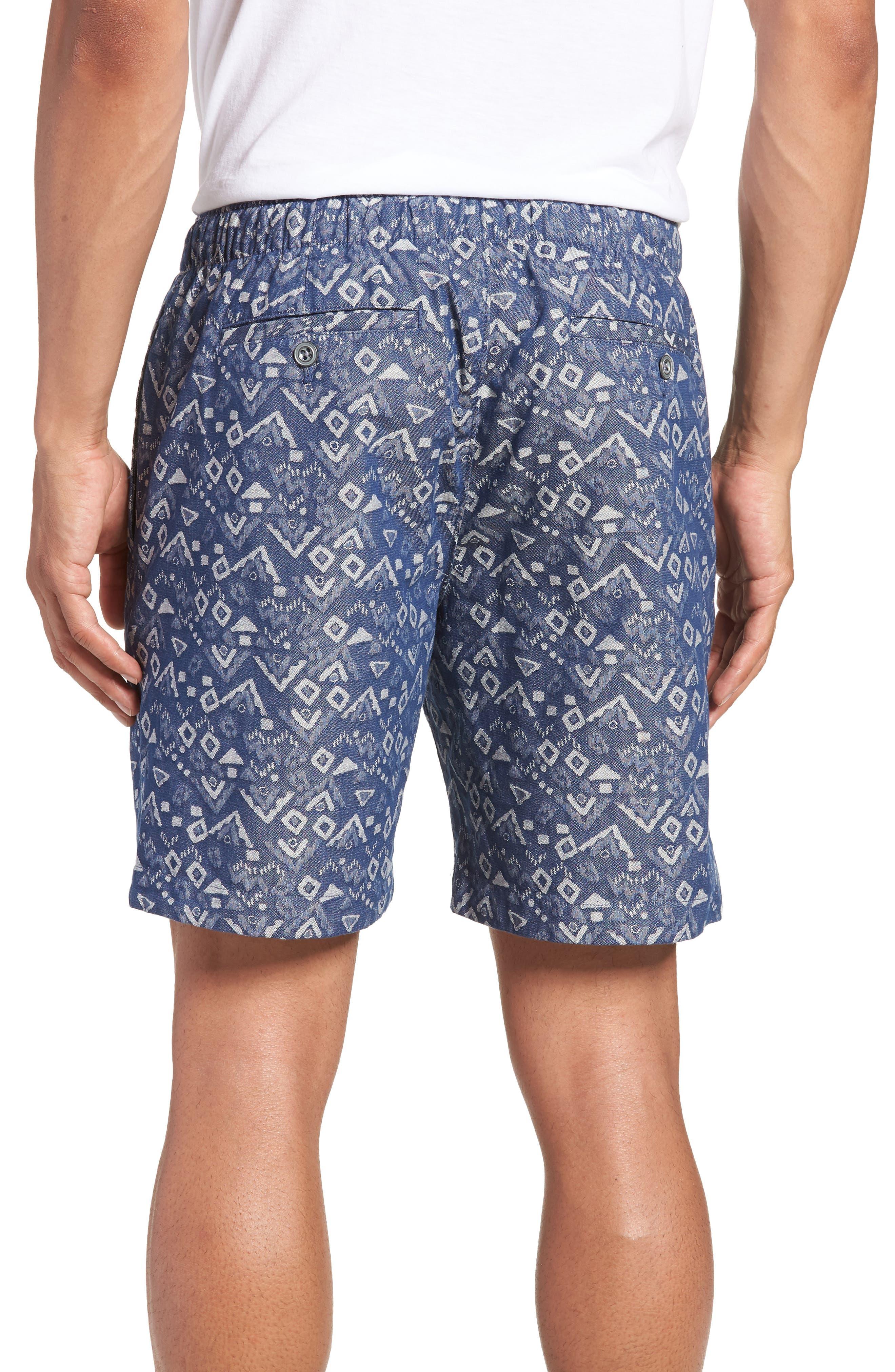 Slim Fit Print Beach Shorts,                             Alternate thumbnail 2, color,                             Triangles Jacquard