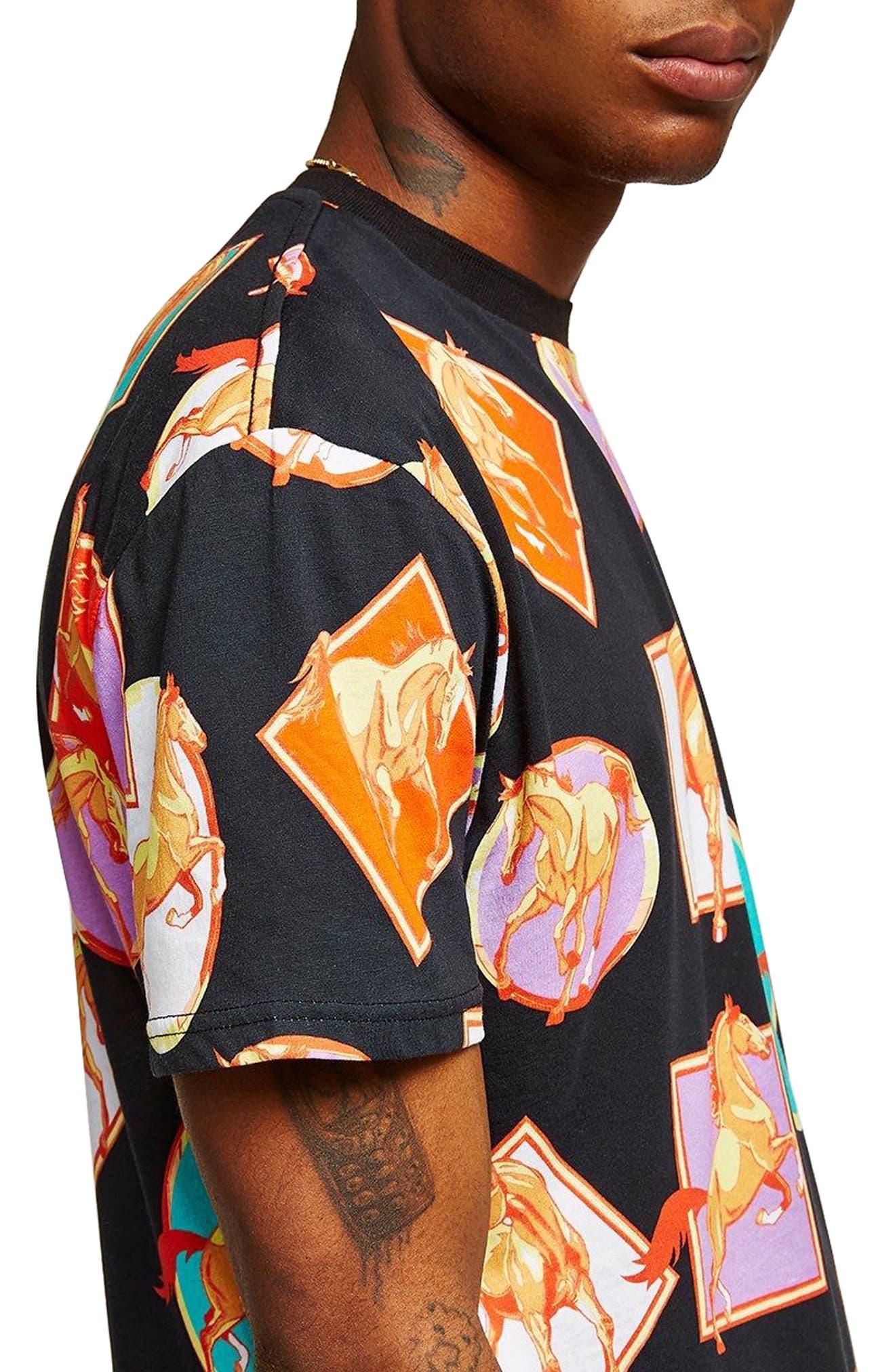 Oversize Horse Print T-Shirt,                             Alternate thumbnail 3, color,                             Black Multi