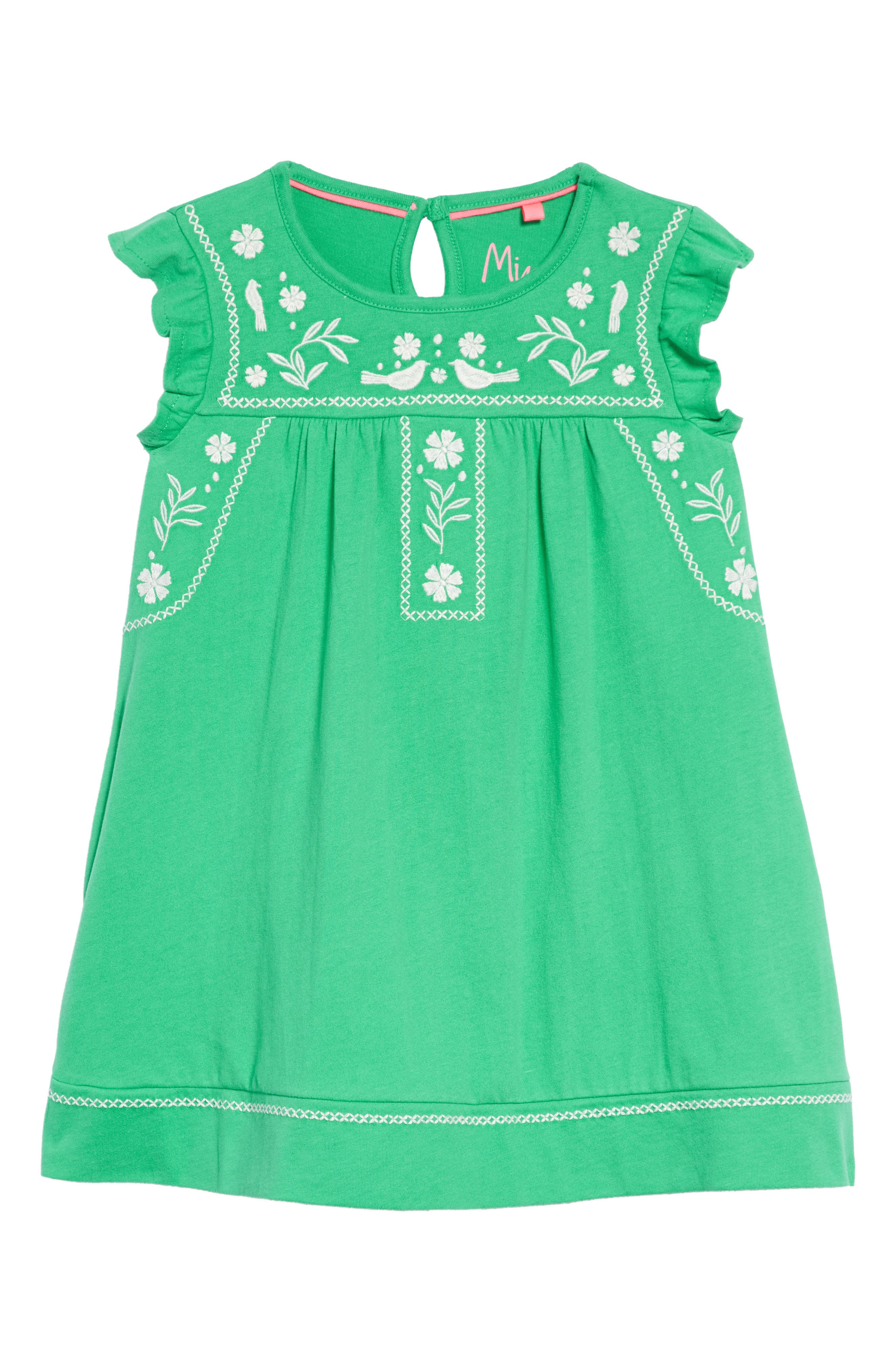 Embroidered Jersey Dress,                         Main,                         color, Peppermint Green