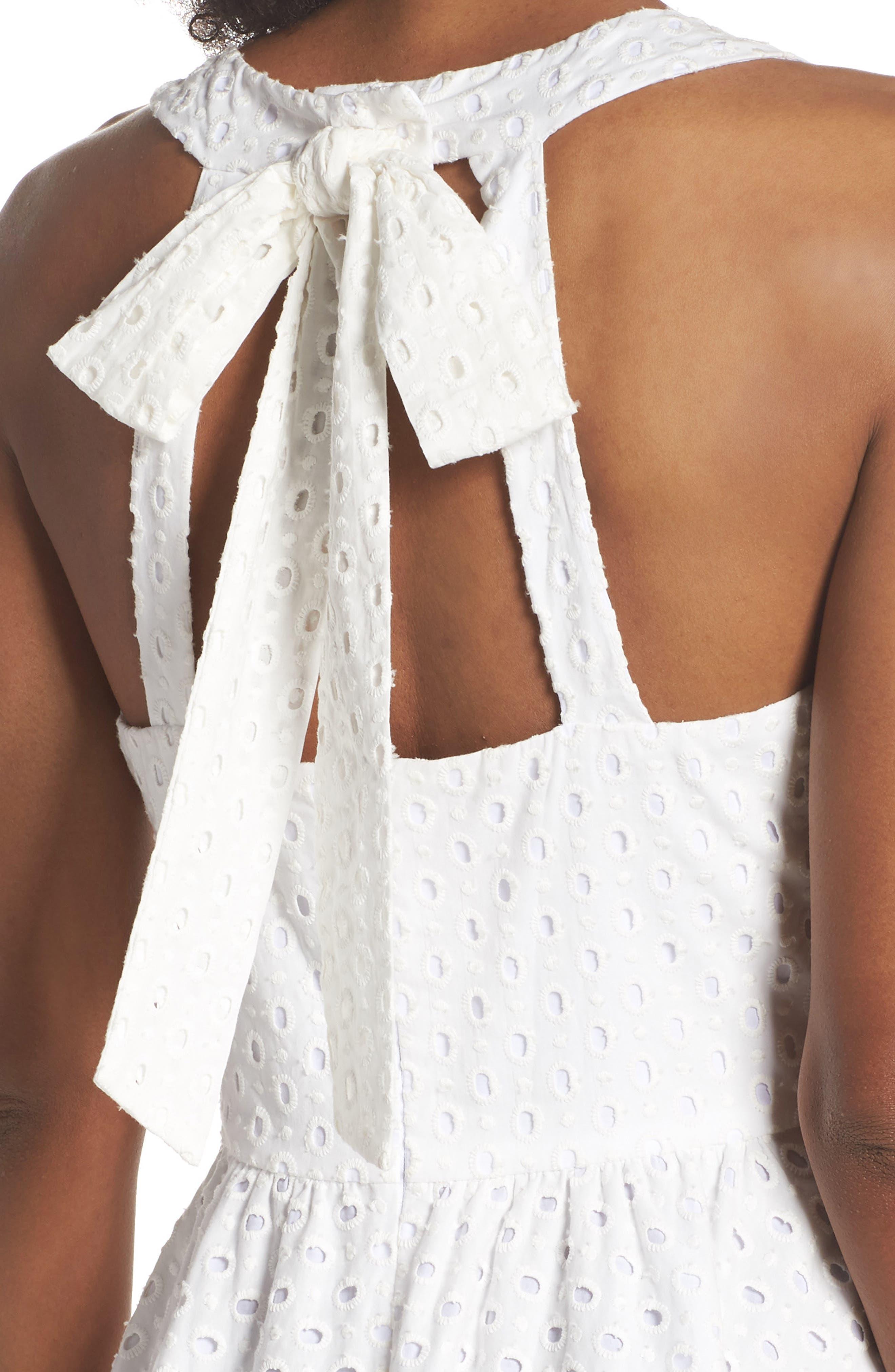 Bow Back Eyelet Sundress,                             Alternate thumbnail 4, color,                             White