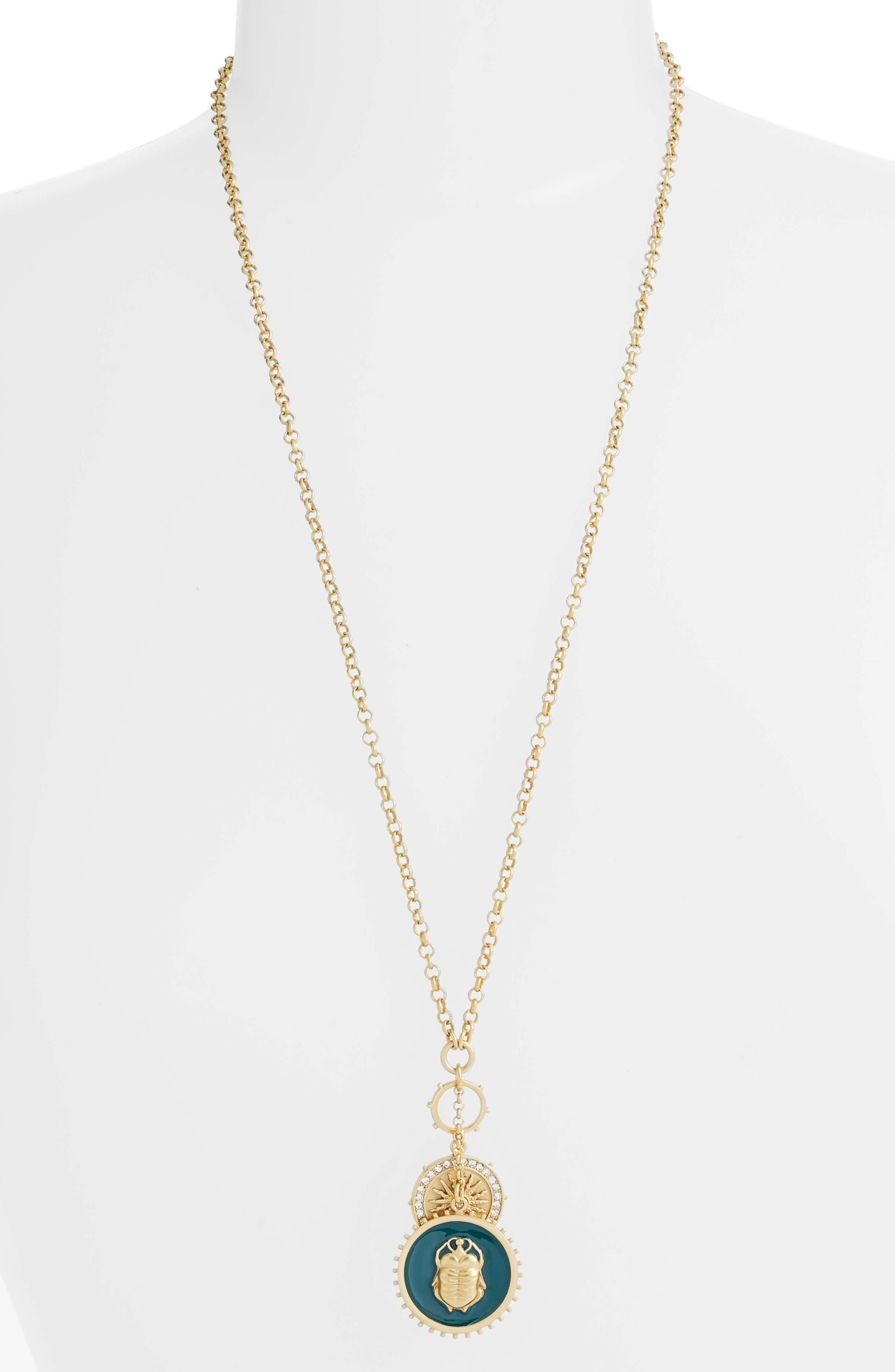 Enamel Scarab Pendant Necklace,                             Main thumbnail 1, color,                             Gold