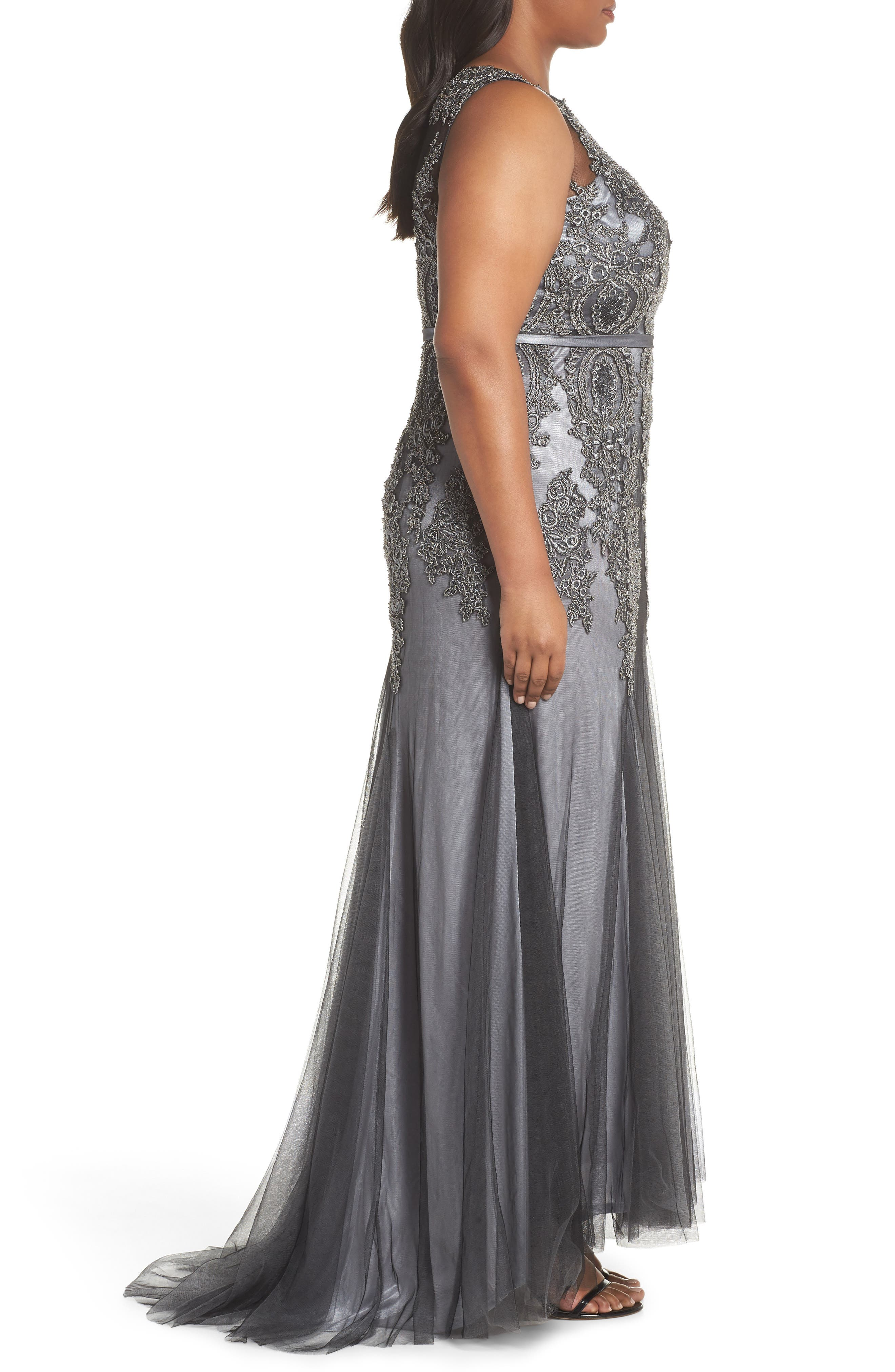 Beaded Godet Mesh Trumpet Gown,                             Alternate thumbnail 3, color,                             Charcoal