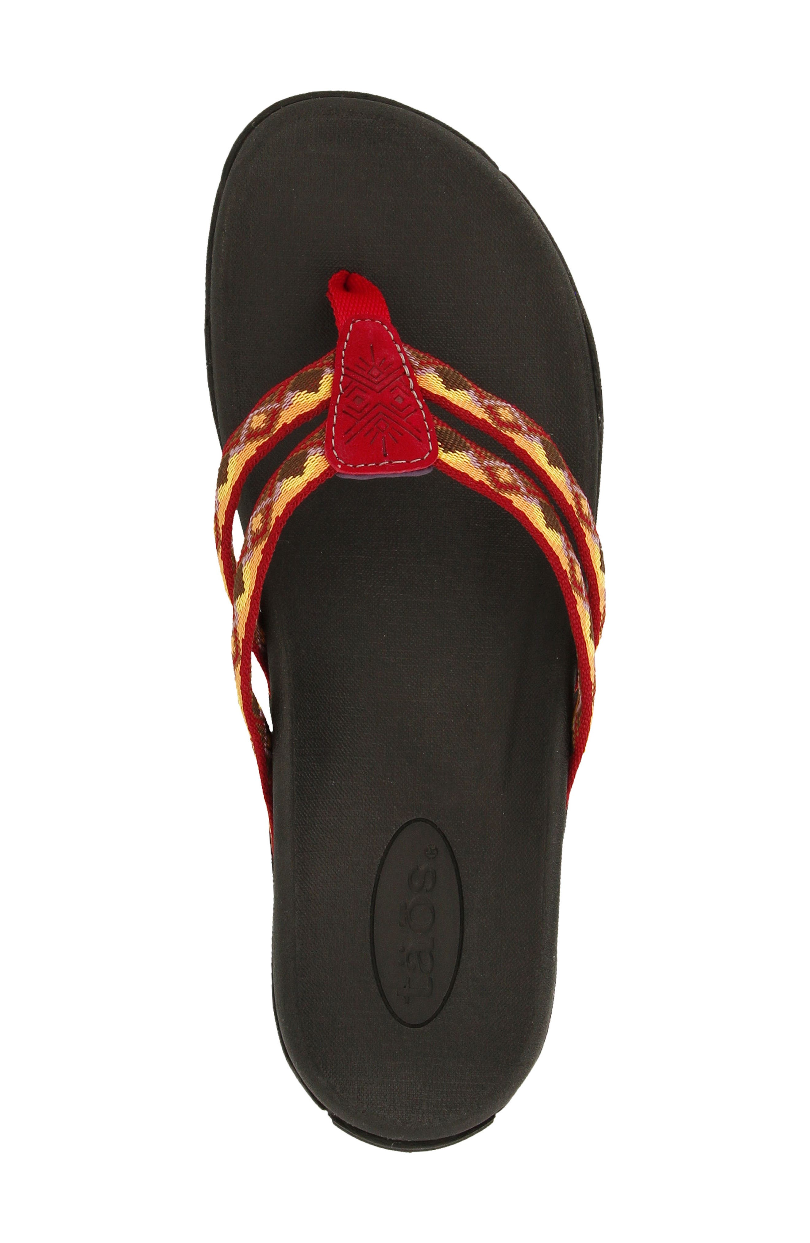 Primo Flip Flop,                             Alternate thumbnail 4, color,                             Red/ Orange Fabric