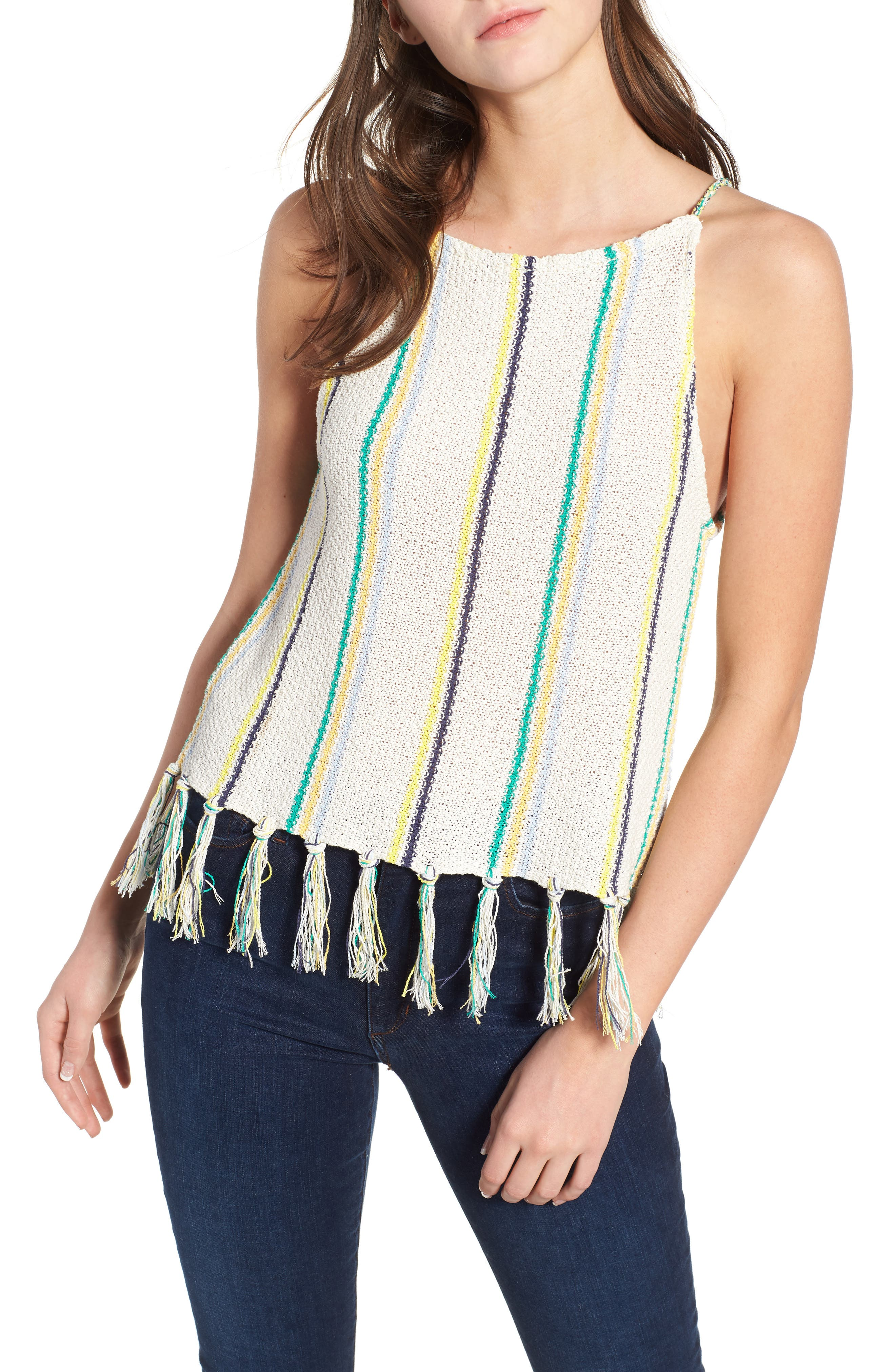 Cecille Stripe Sweater Tank,                         Main,                         color, Oatmeal