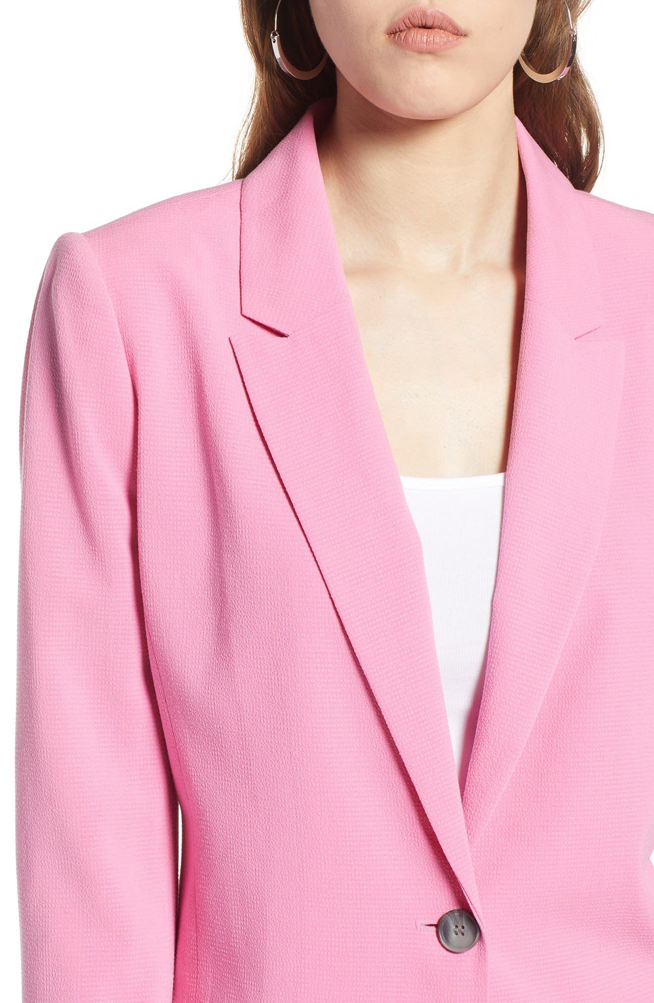 One Button Blazer,                             Alternate thumbnail 4, color,                             Pink Trillium