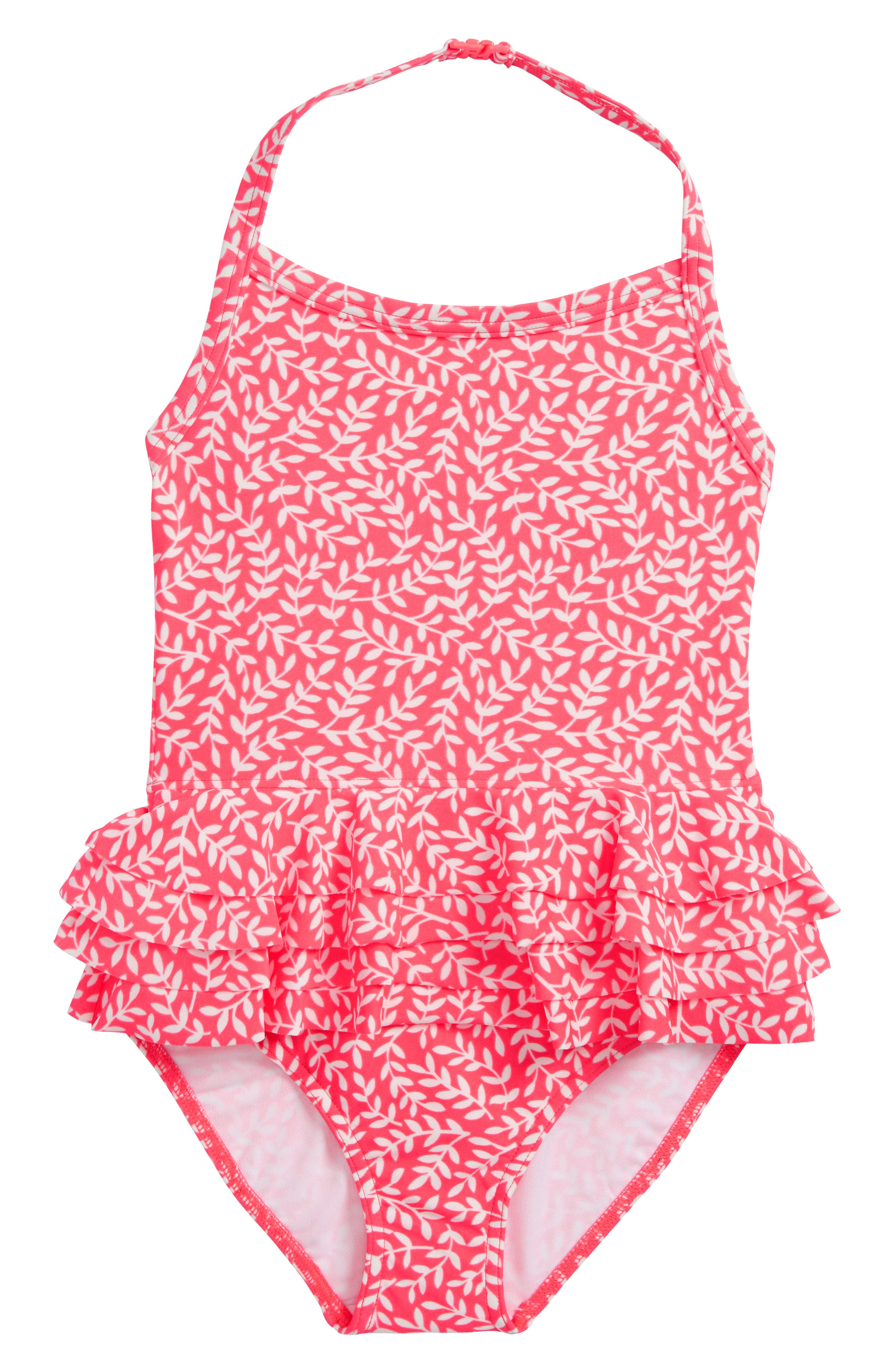 Ruffle Swimsuit,                             Main thumbnail 1, color,                             Shocking Red Vine