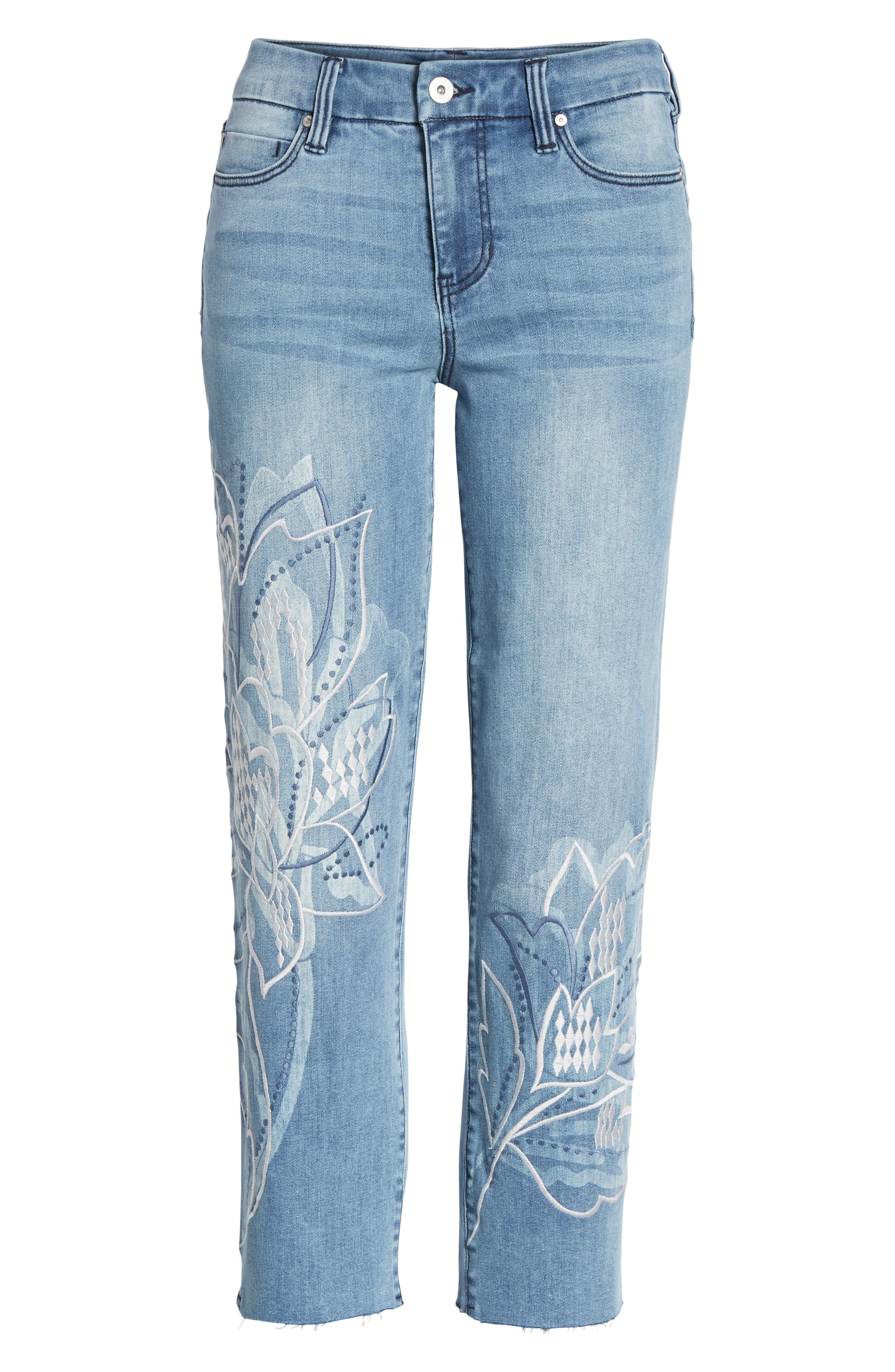 LVPL by Liverpool Carter Floral Embroidery Crop Jeans,                             Alternate thumbnail 7, color,                             Devonshire Wash