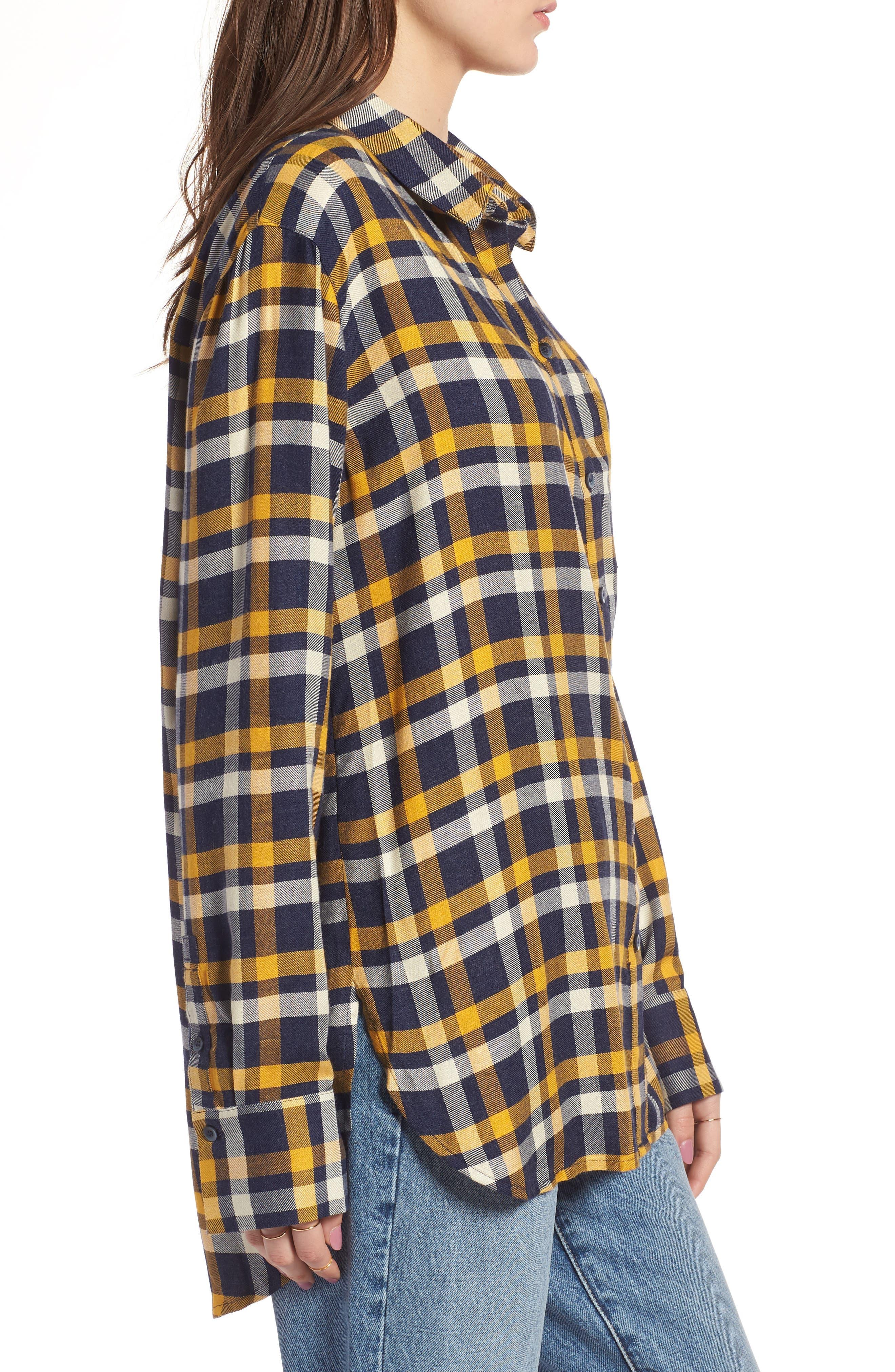 Plaid Boyfriend Shirt,                             Alternate thumbnail 3, color,                             Navy Maritime Offset Wndw Pane