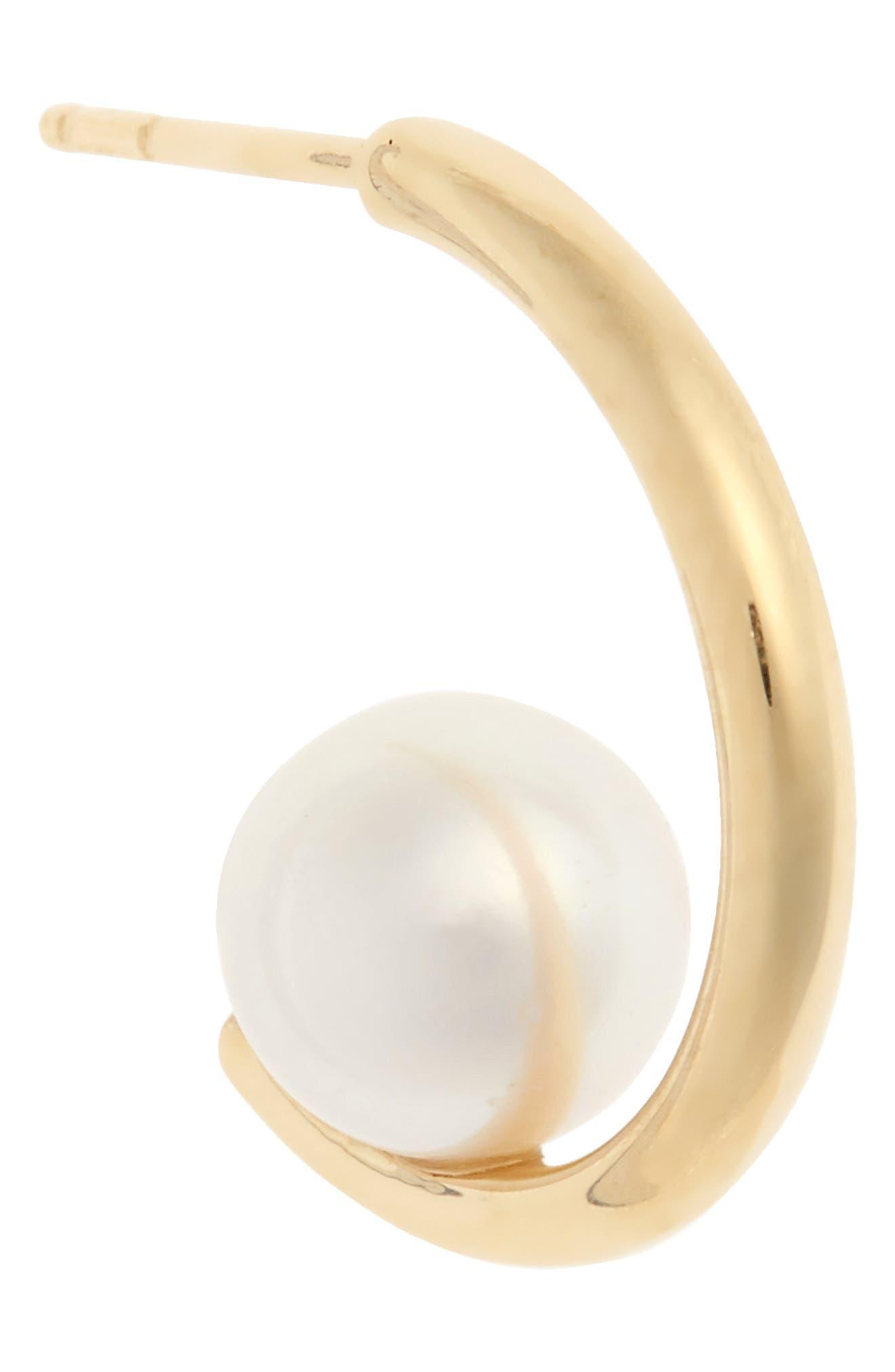 Floating Pearl Mini Hoop Earring,                             Alternate thumbnail 5, color,                             Yellow Gold