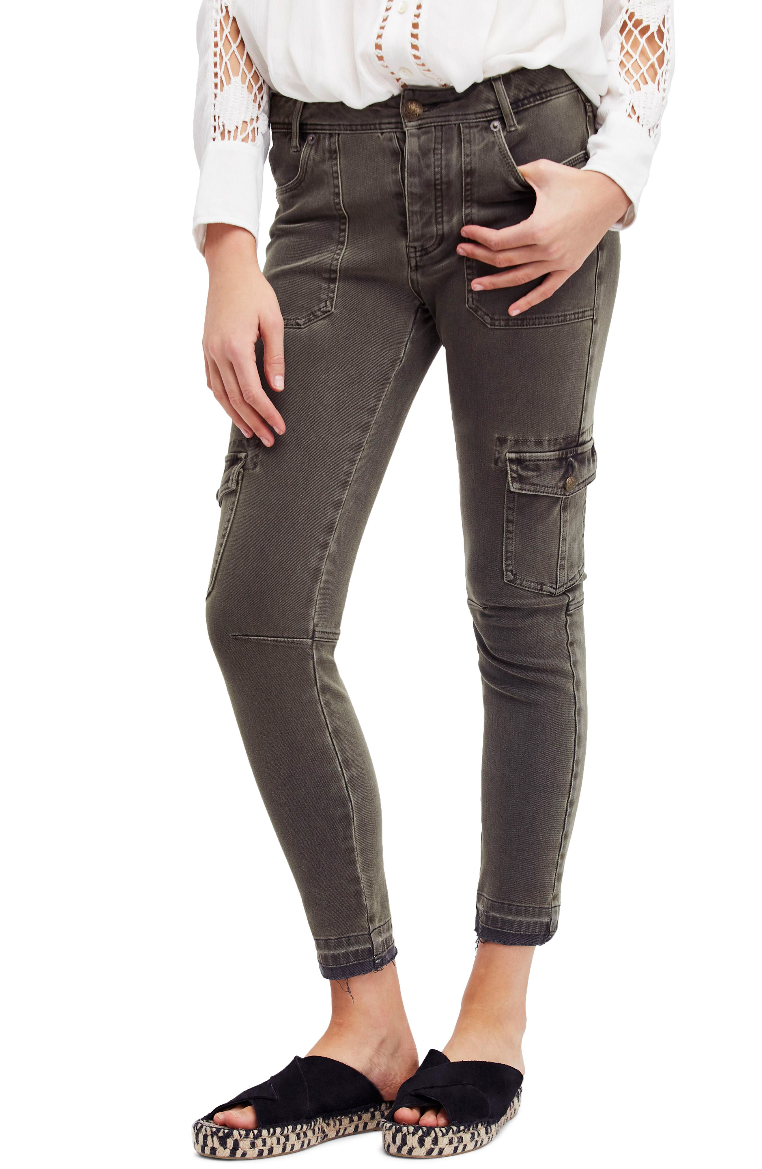 Utility Skinny Jeans,                             Main thumbnail 1, color,                             Moss
