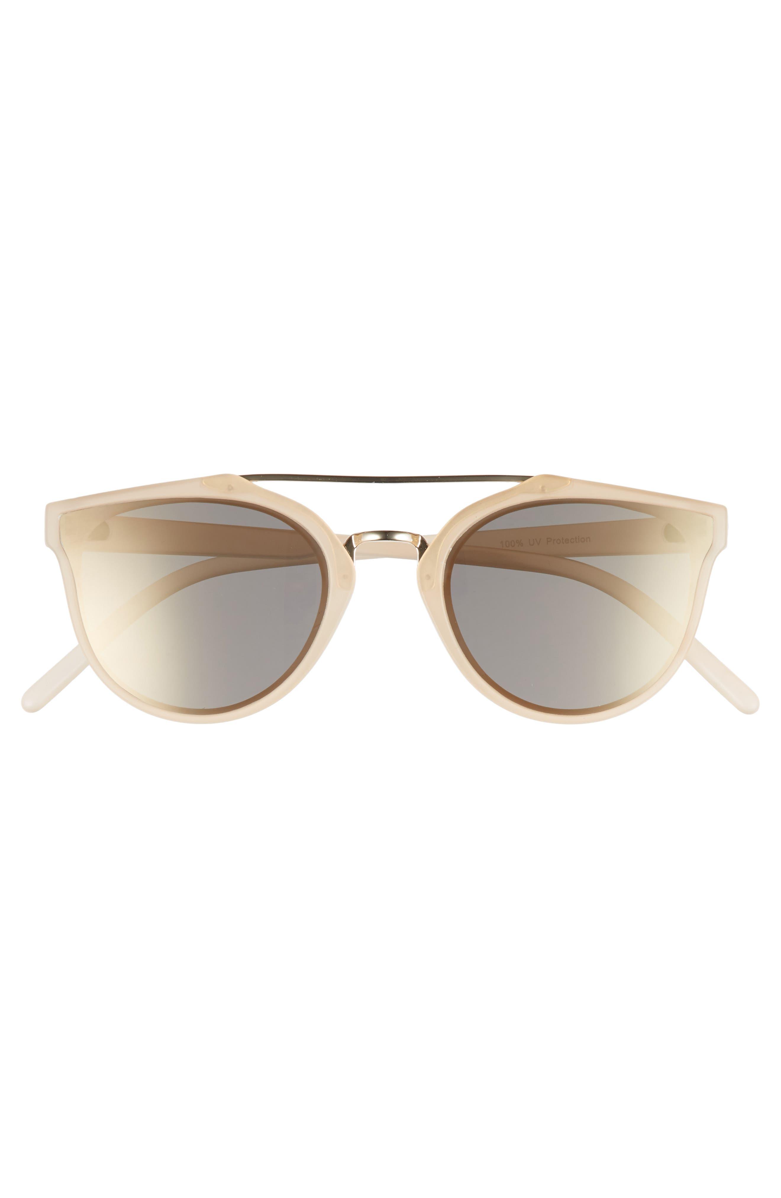 Aviator Sunglasses,                             Alternate thumbnail 3, color,                             Milky Peach/ Gold