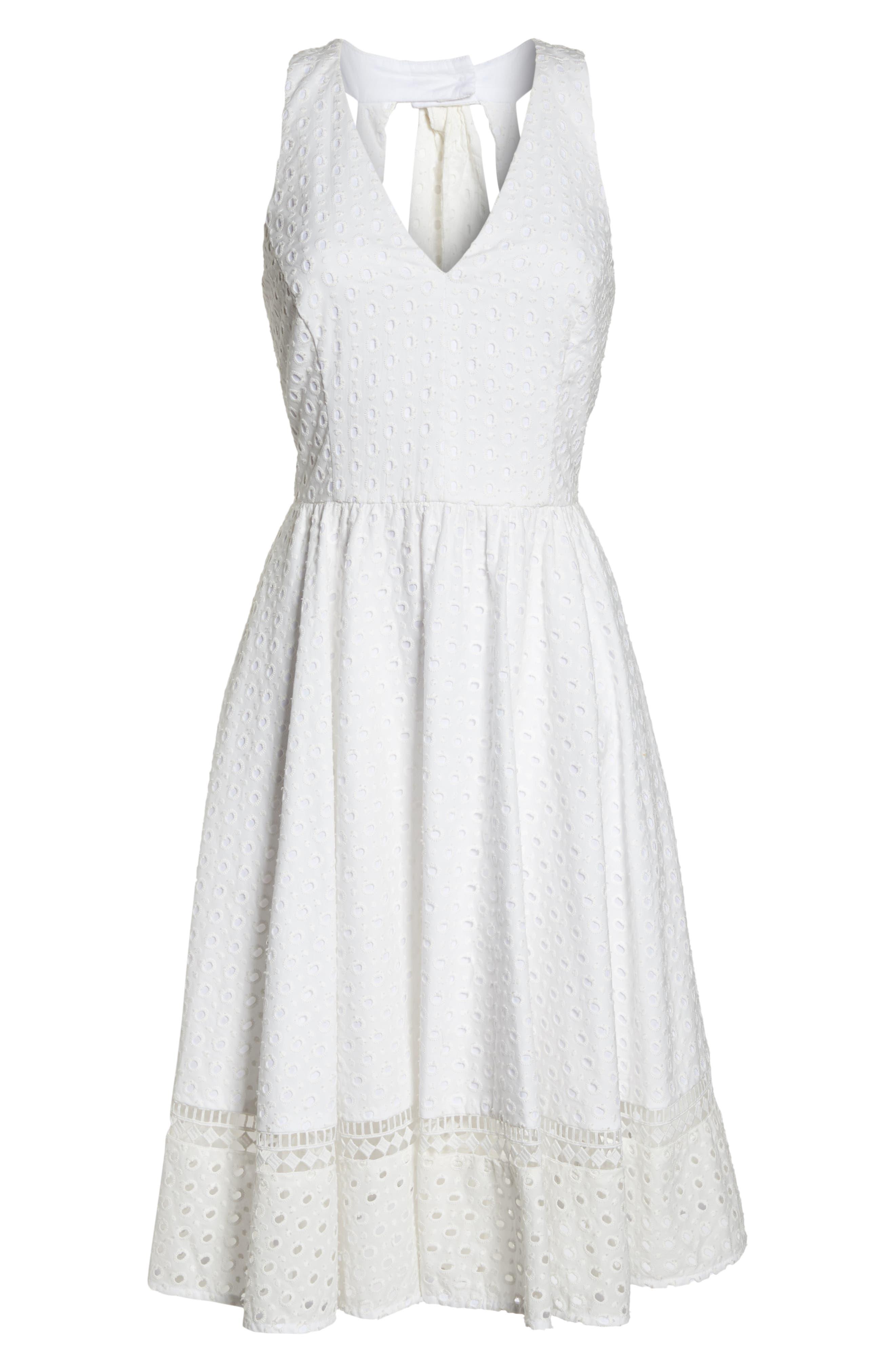 Bow Back Eyelet Sundress,                             Alternate thumbnail 7, color,                             White