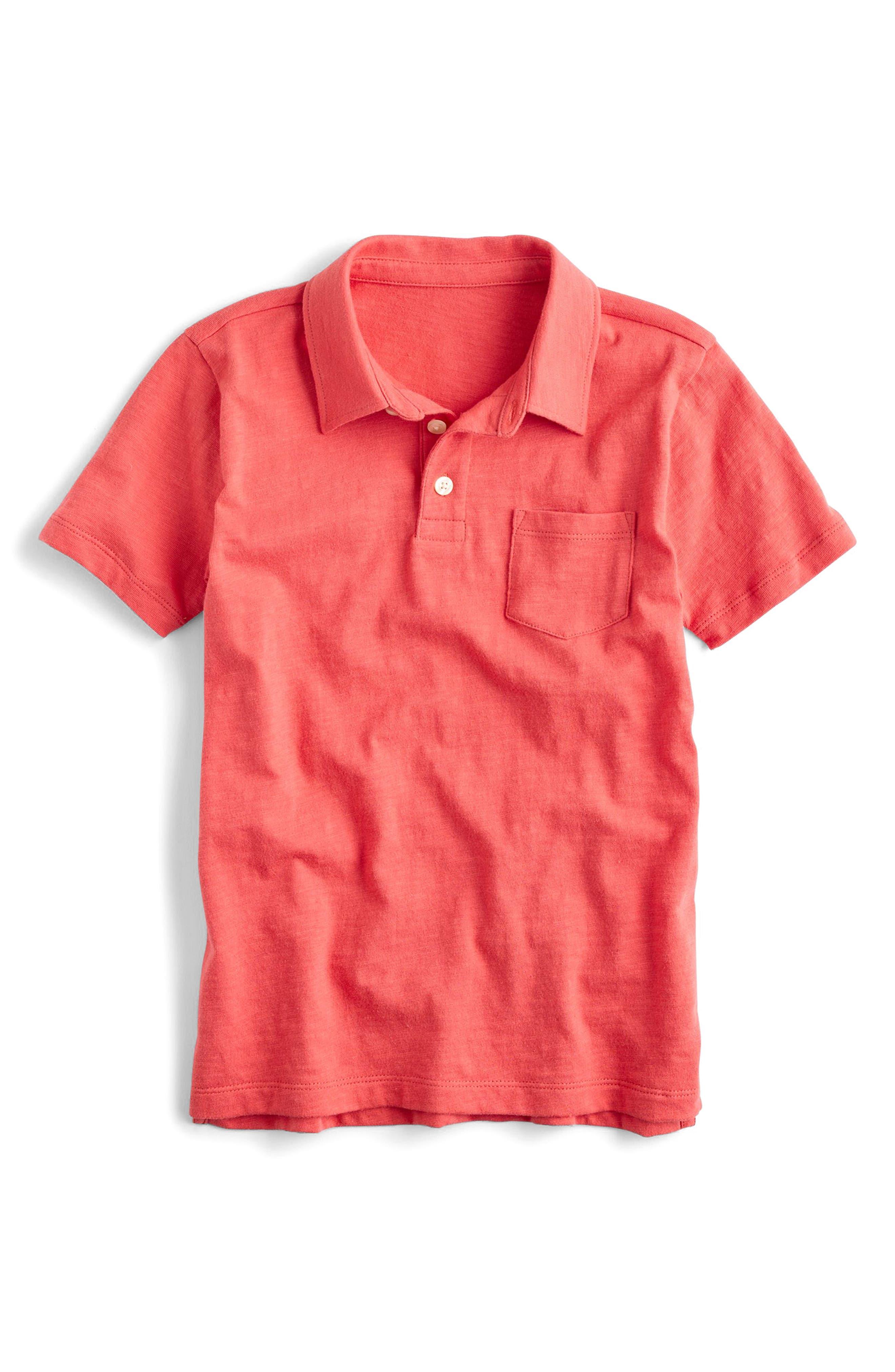 Jersey Polo,                             Main thumbnail 1, color,                             Coral