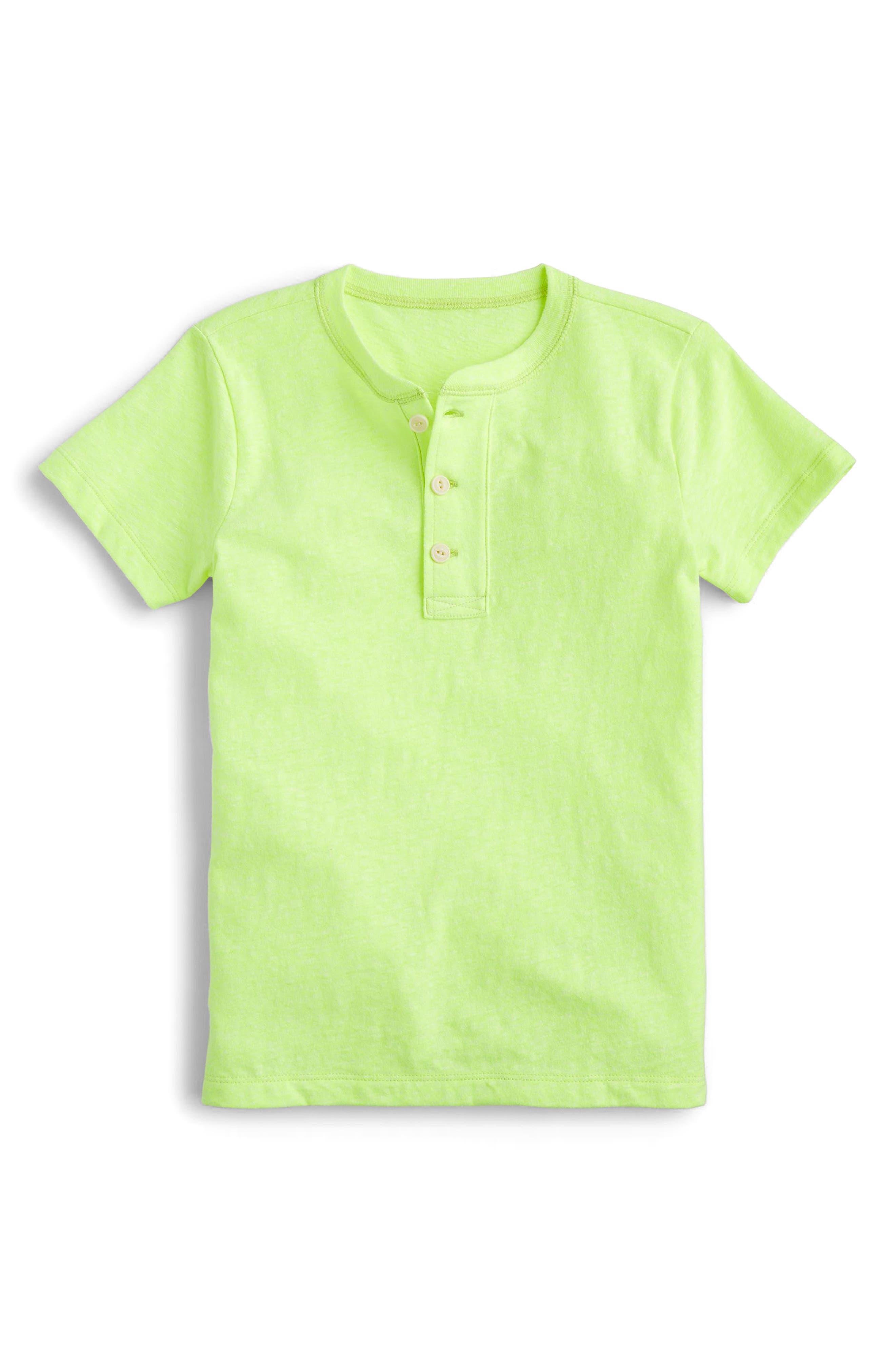 Short Sleeve Henley,                             Main thumbnail 1, color,                             Neon Lemon