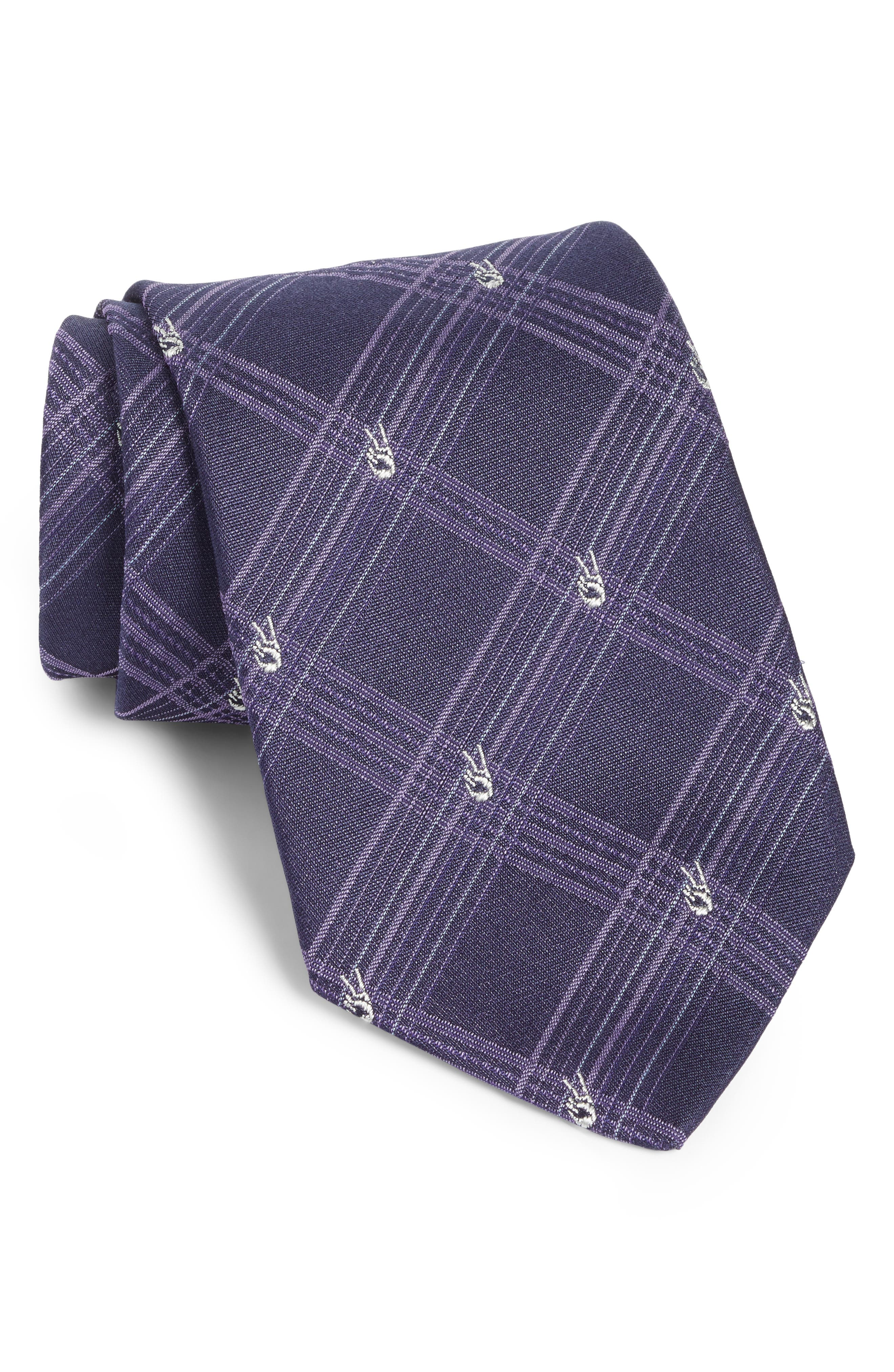 Peace Sign Plaid Silk Tie,                         Main,                         color, Purple