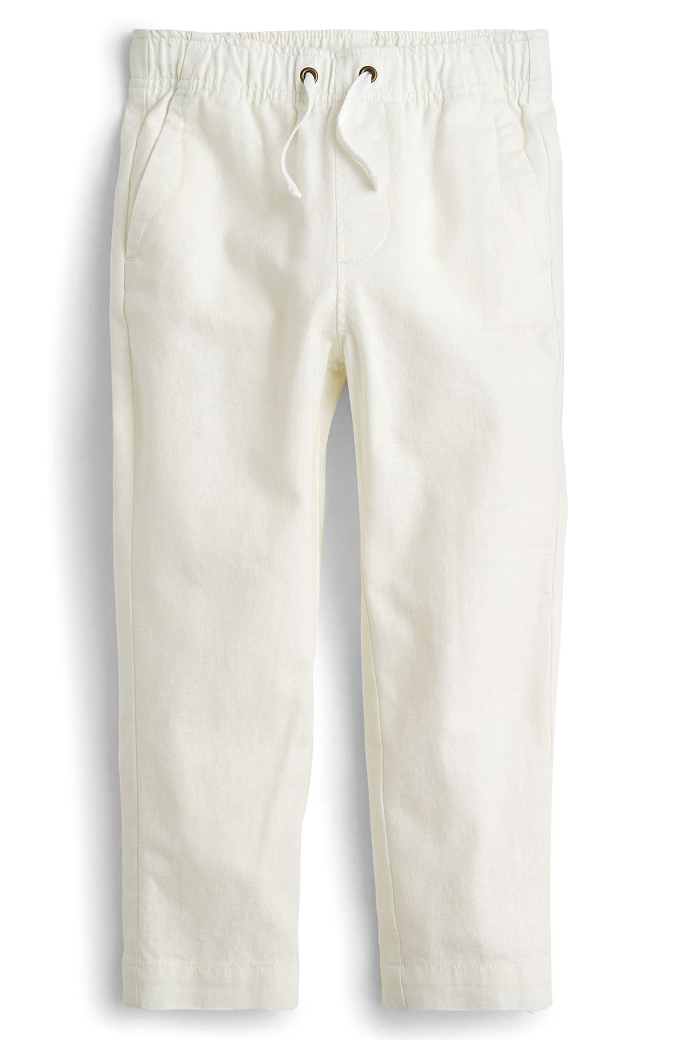 Pull-On Linen & Cotton Pants,                         Main,                         color, White