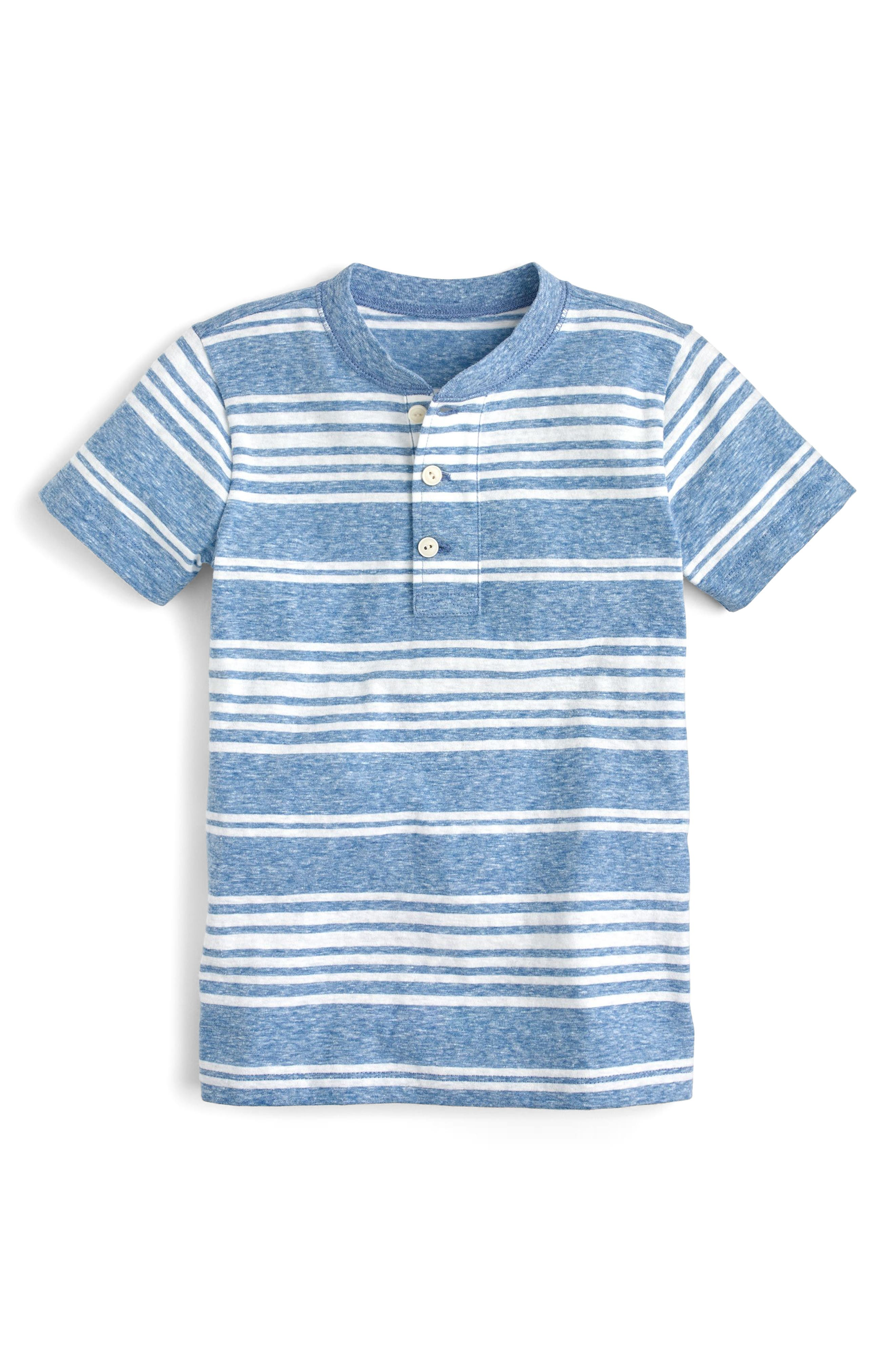 Stripe Henley T-Shirt,                         Main,                         color, Lagoon Ivory