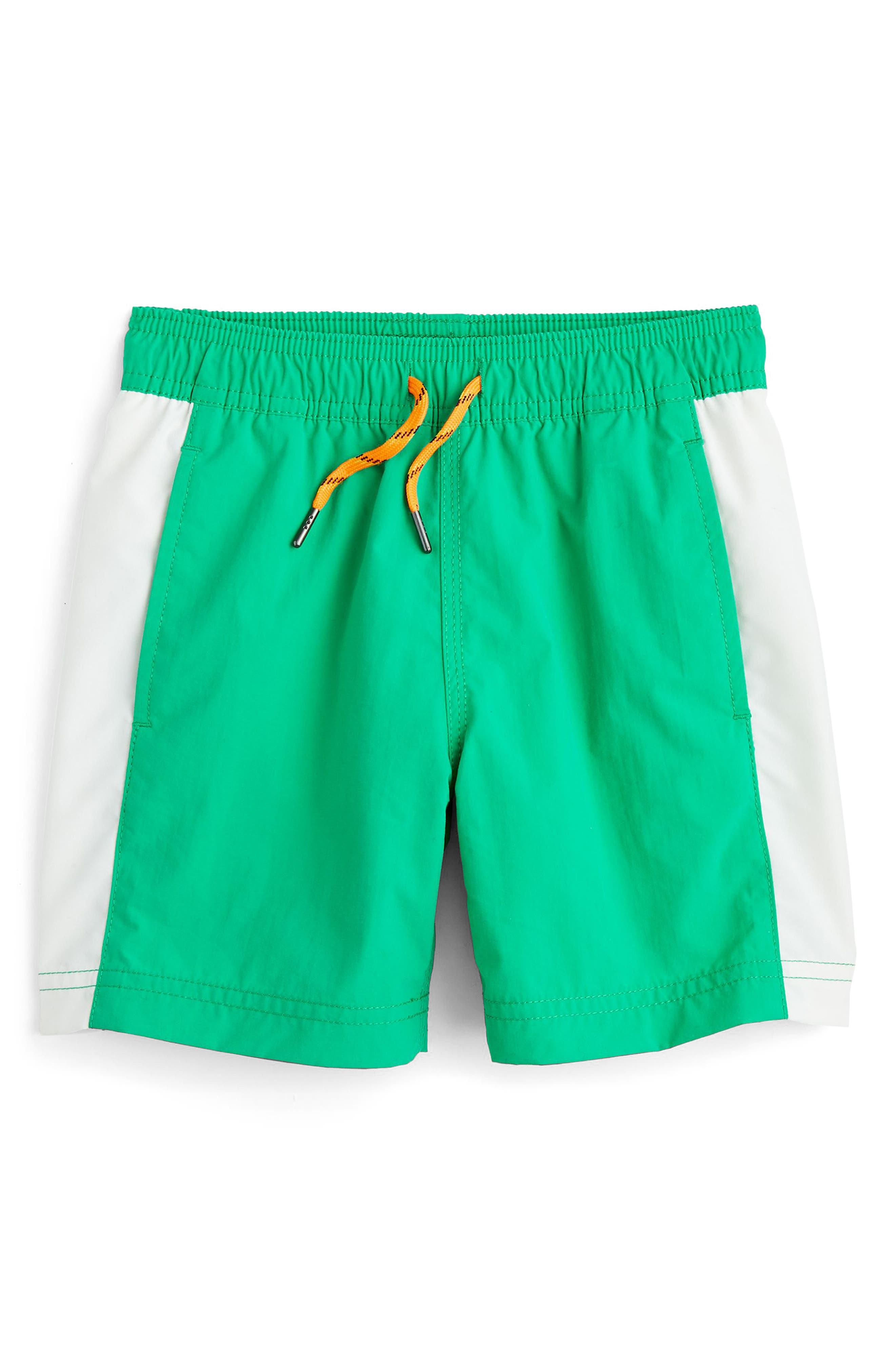 Colorblock Swim Trunks,                         Main,                         color, Emerald White