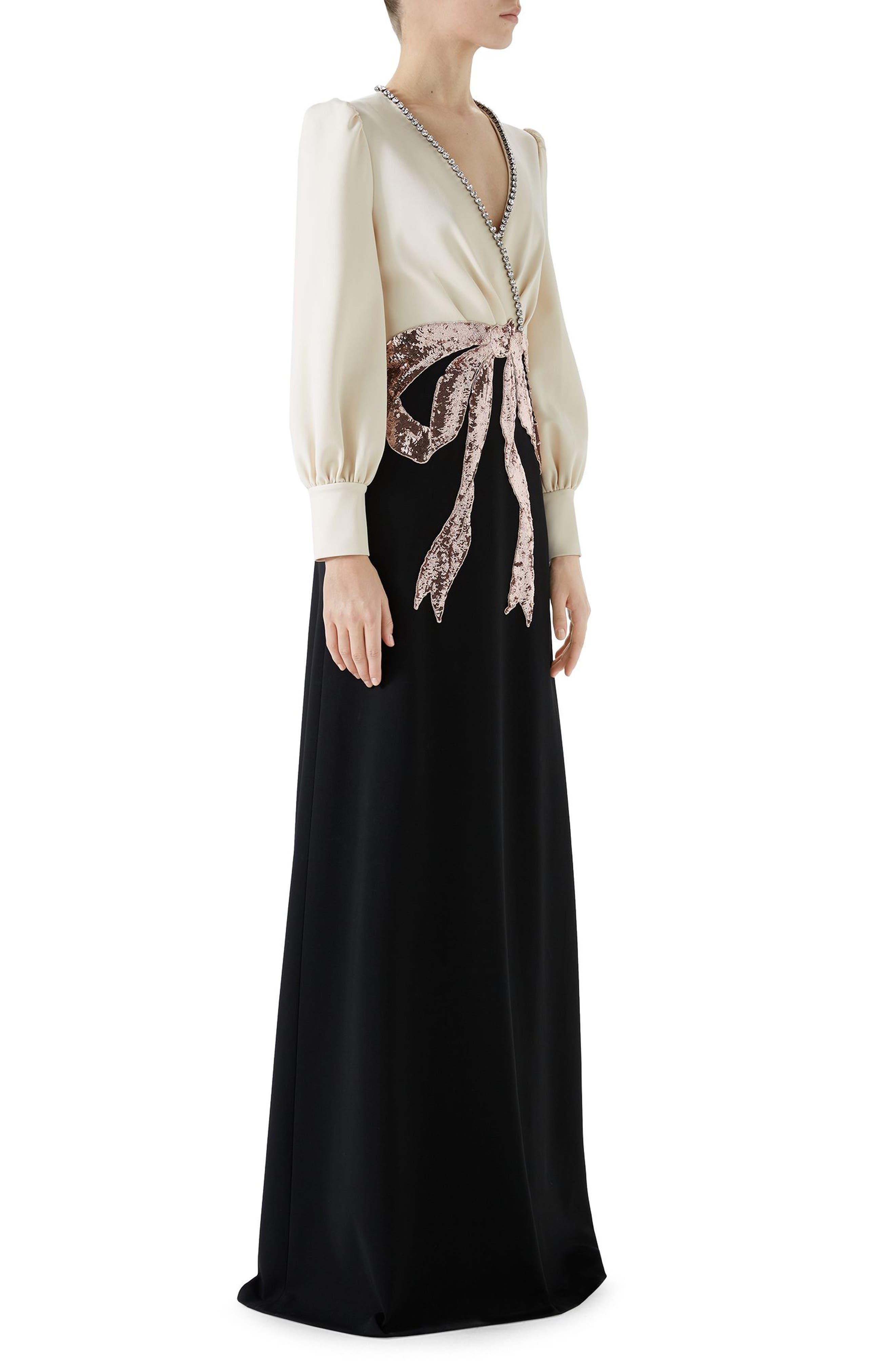 Trompe L'Oeil Bow Stretch Jersey Gown,                             Alternate thumbnail 3, color,                             Black/ Almond Flower