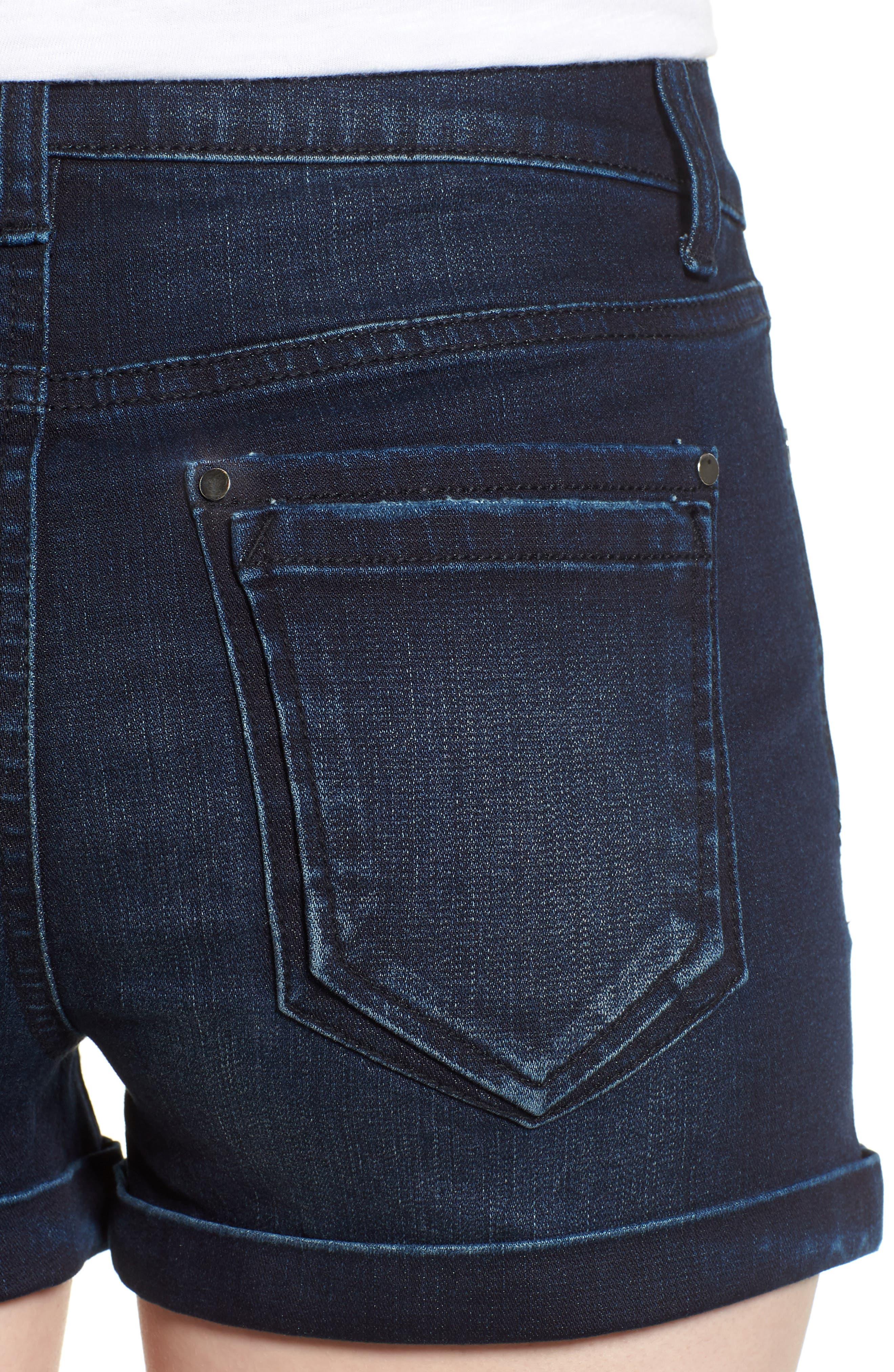 Cuffed Denim Shorts,                             Alternate thumbnail 4, color,                             Dark Wash