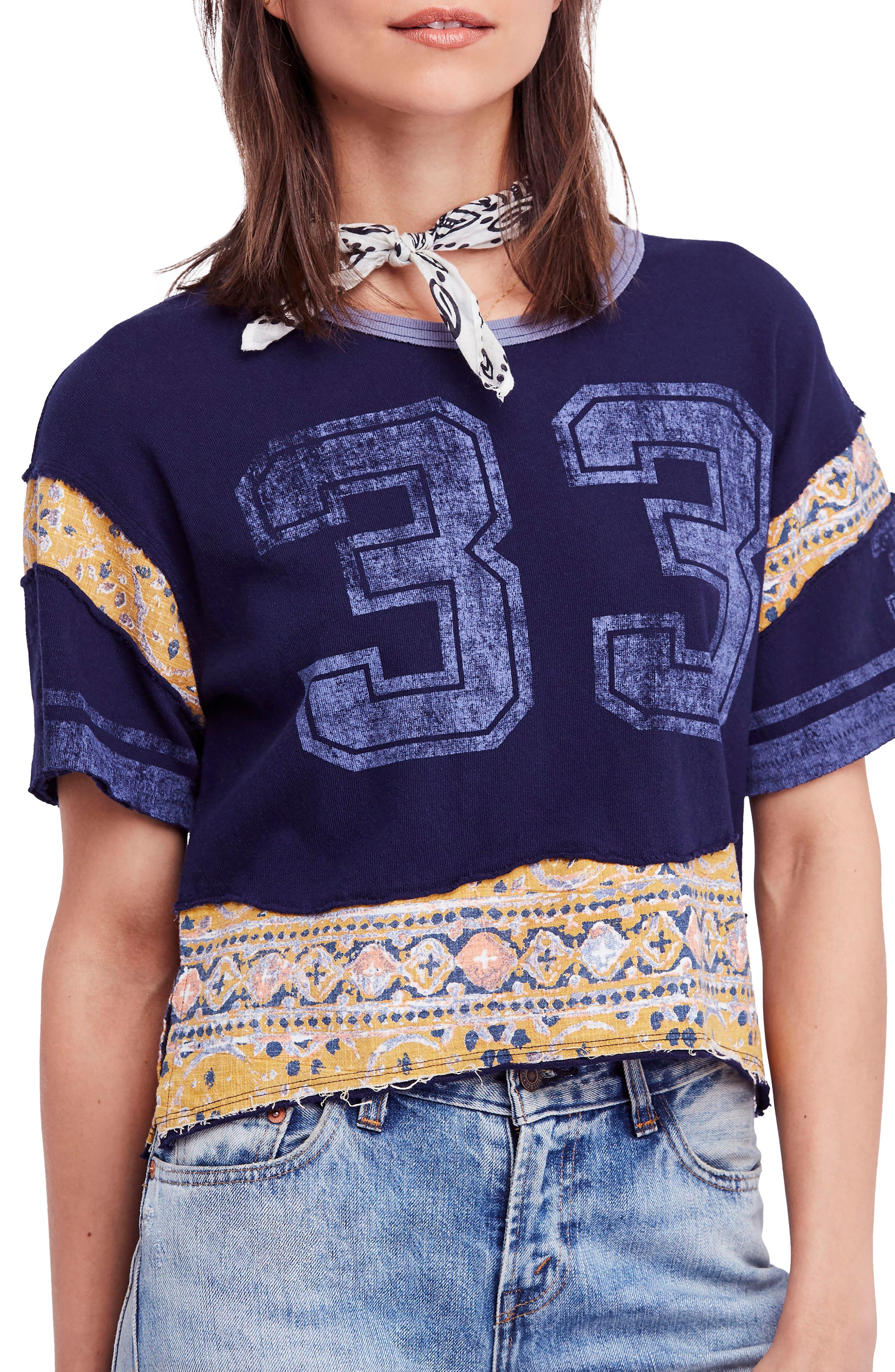 Nicky Crop Tee,                             Main thumbnail 1, color,                             Blue Combo