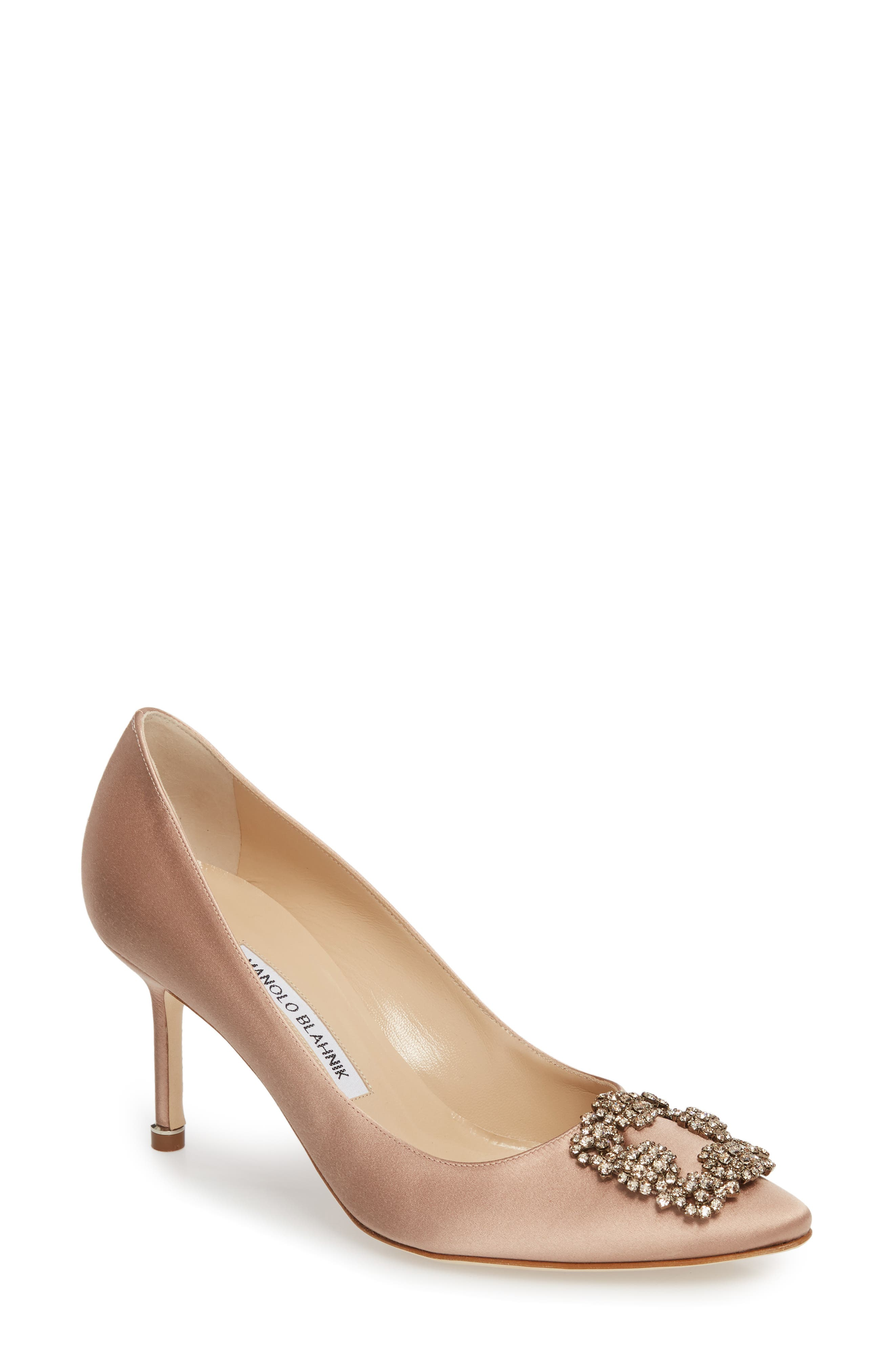 'Hangisi' Pointy Toe Pump,                         Main,                         color, Flesh Satin