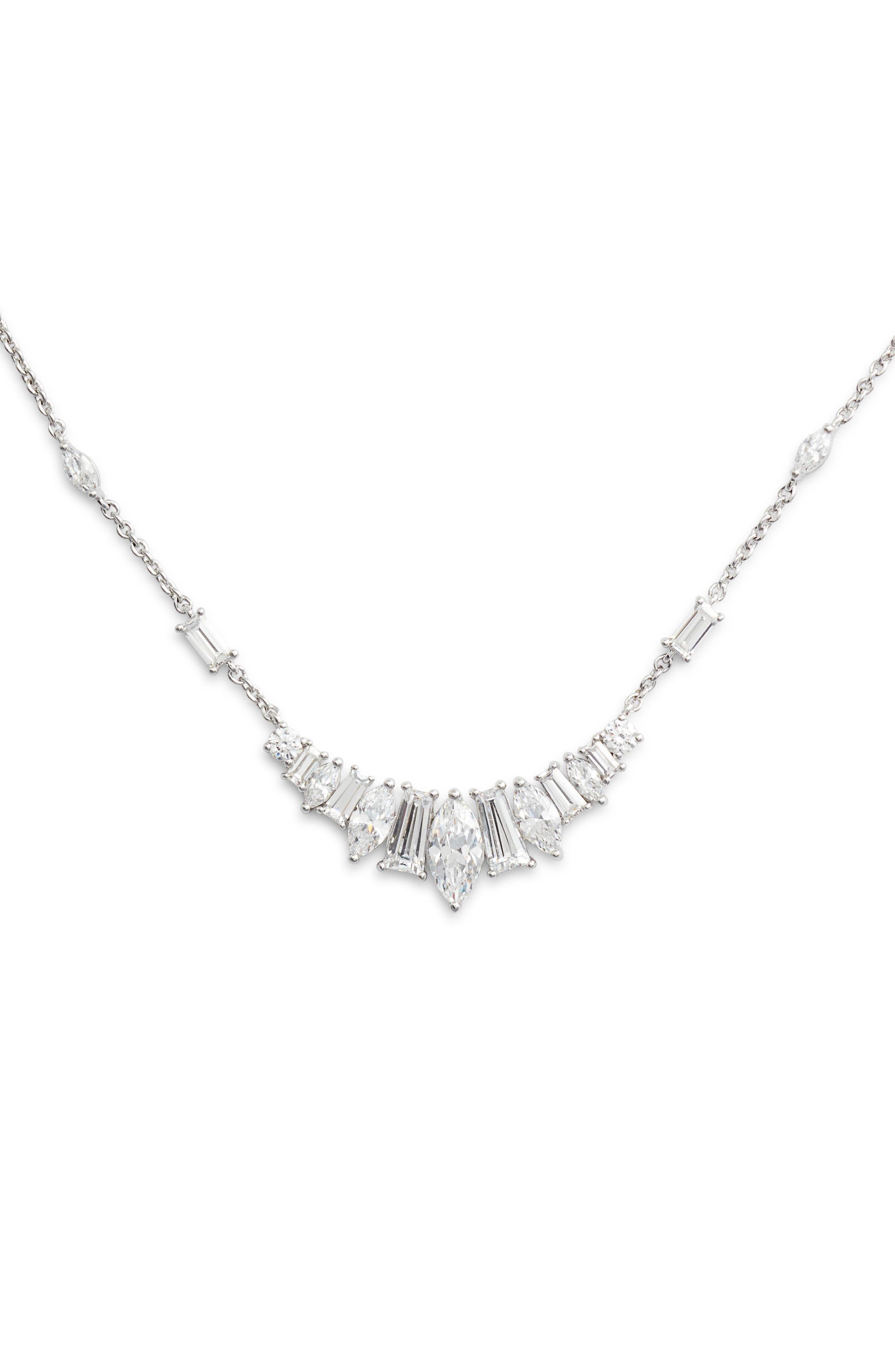 Fanfare Frontal Necklace,                         Main,                         color, Silver