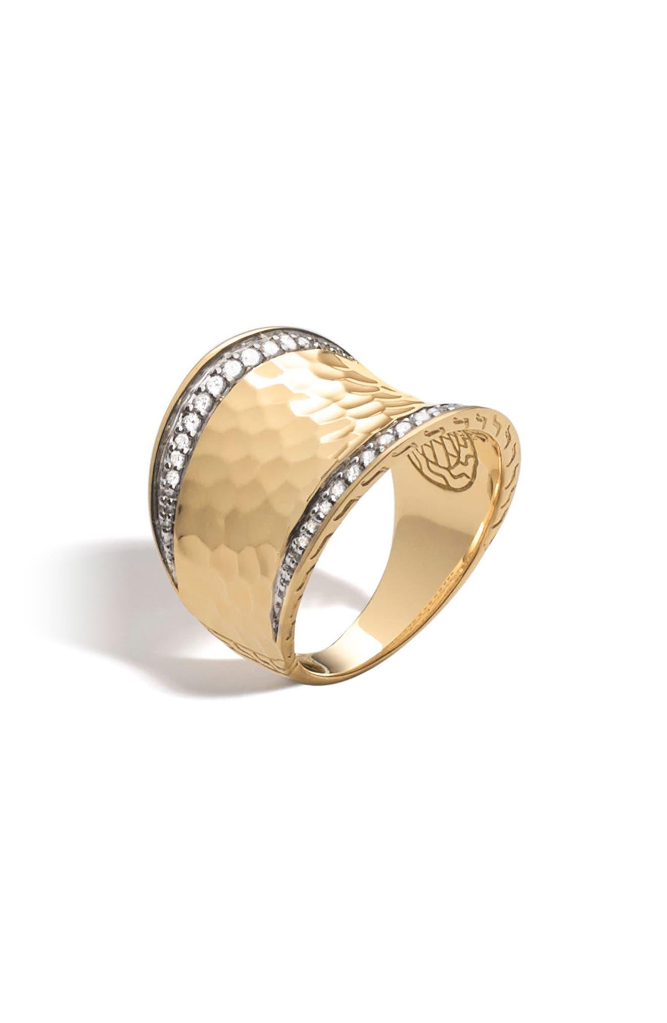 John Hardy Hammered Saddle Ring with Diamonds