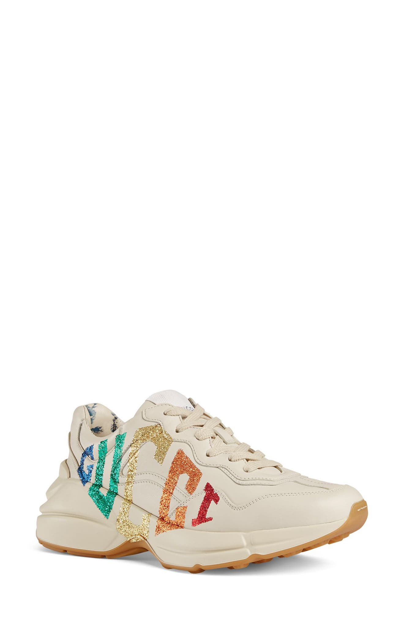 Rhyton Rainbow Logo Sneaker,                         Main,                         color, Mystic White