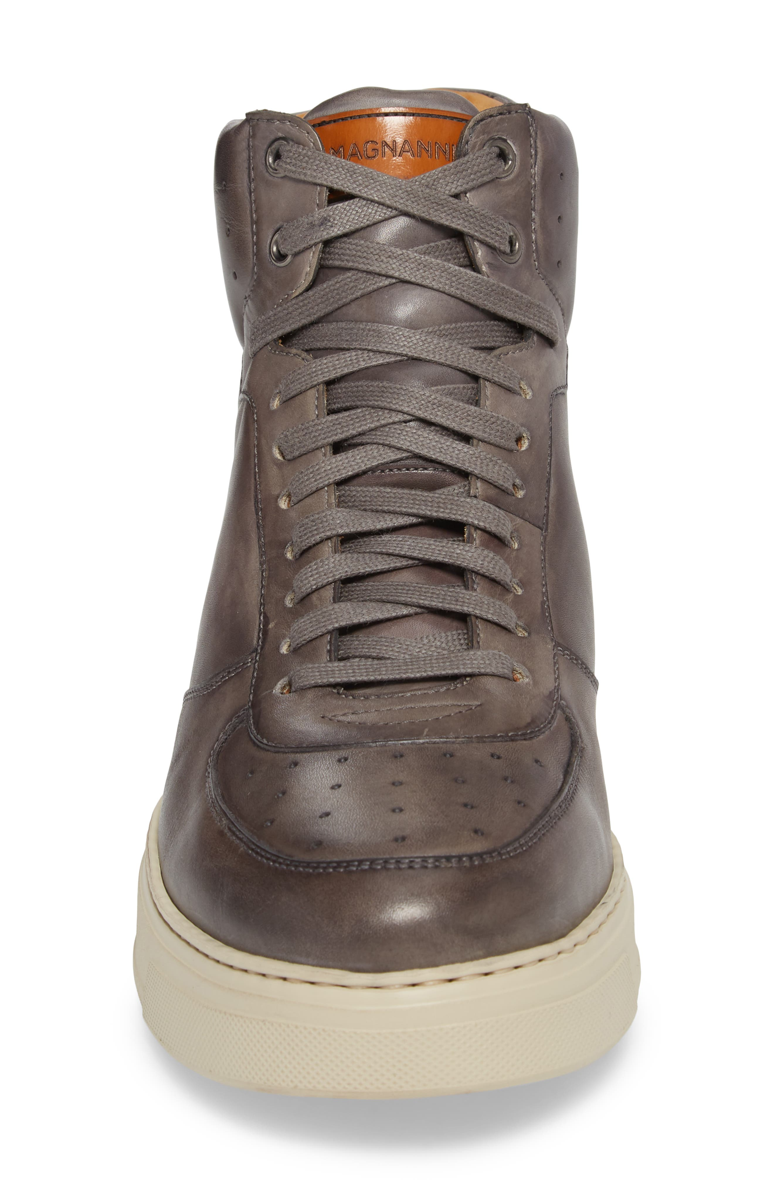 Varro Hi Top Lace Up Sneaker,                             Alternate thumbnail 4, color,                             Grey/ Grey Leather