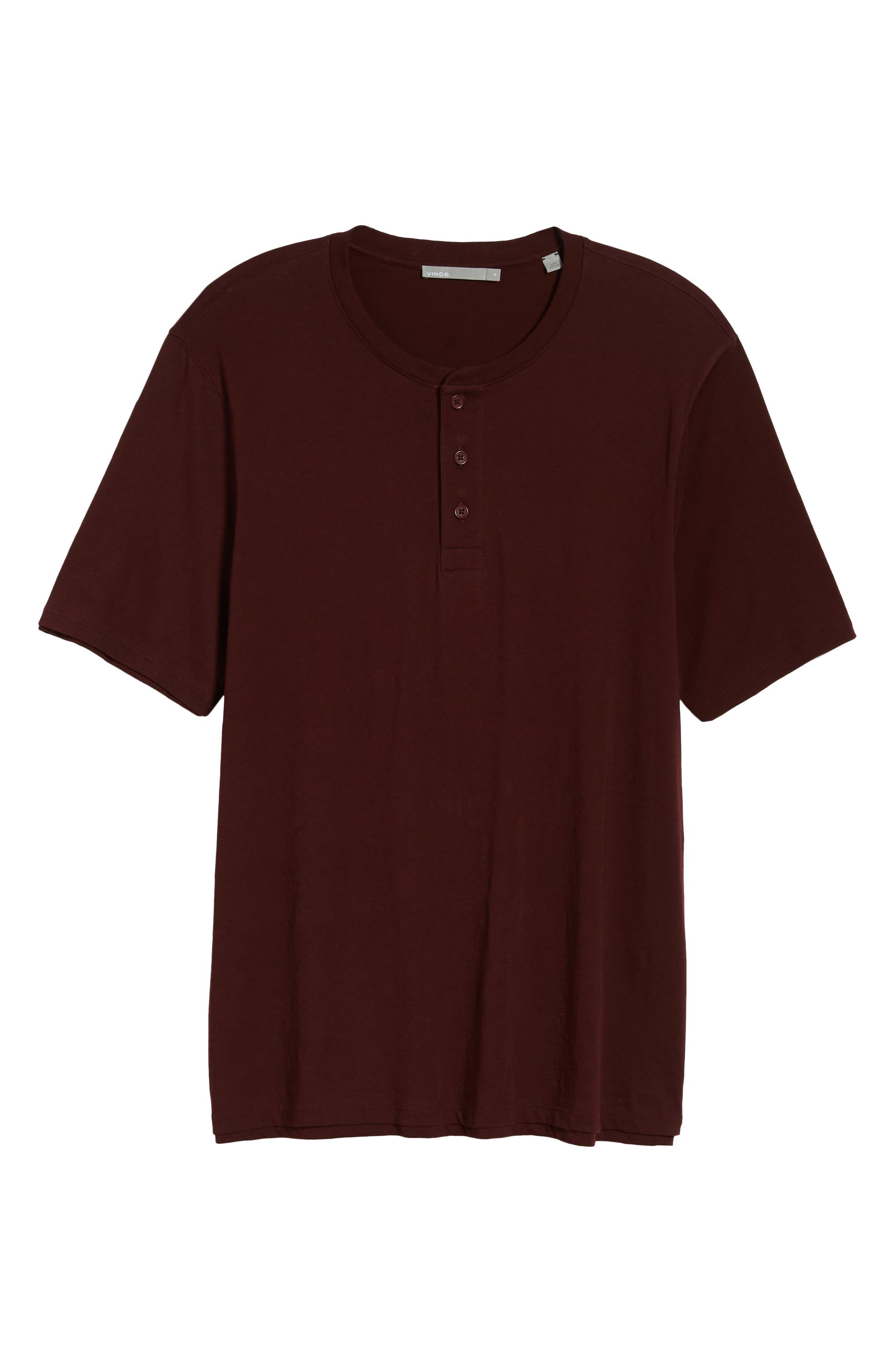 Layered Henley T-Shirt,                             Alternate thumbnail 6, color,                             Black Cherry