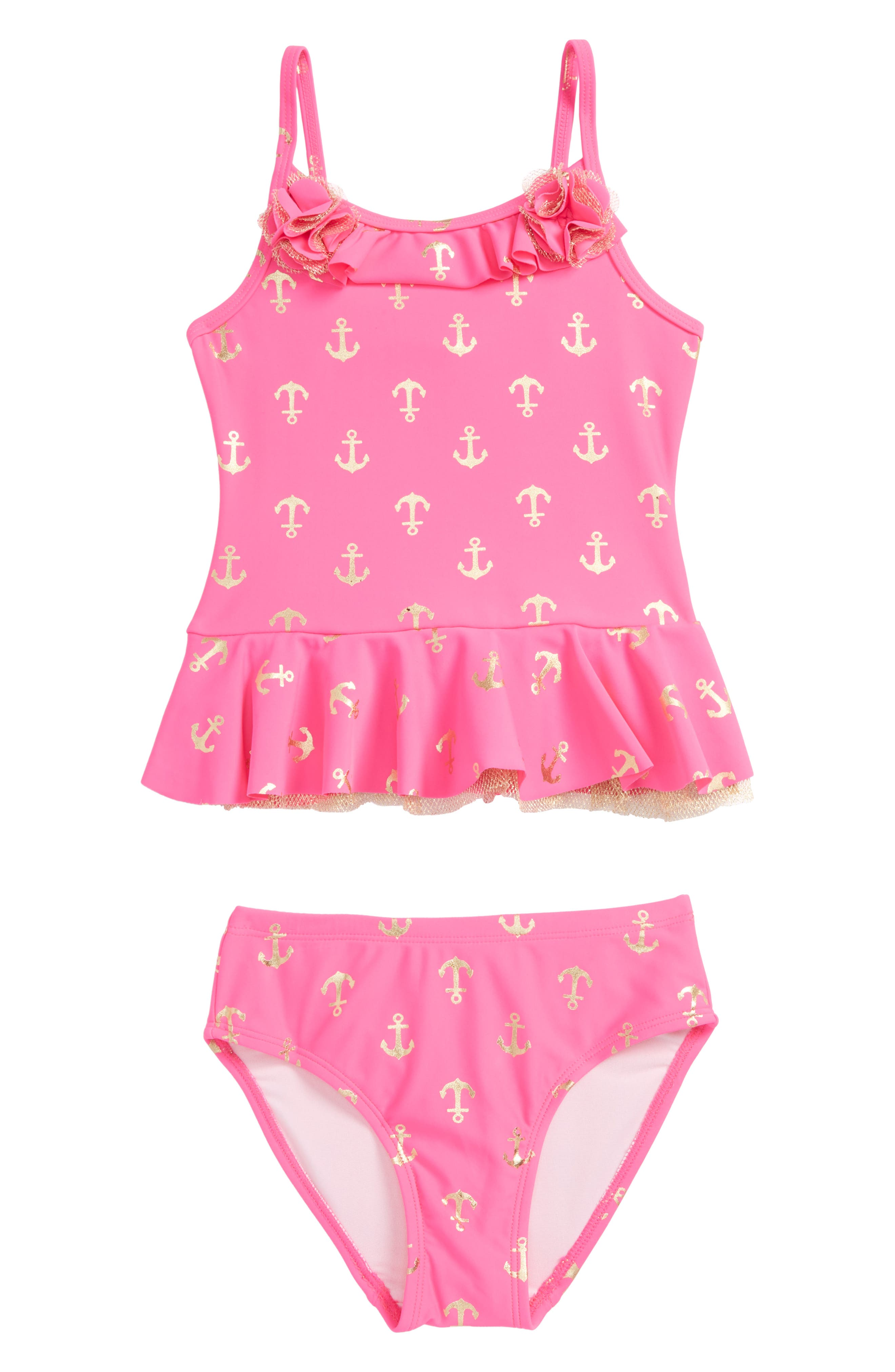 Anchor Two-Piece Swimsuit,                             Main thumbnail 1, color,                             Hot Pink