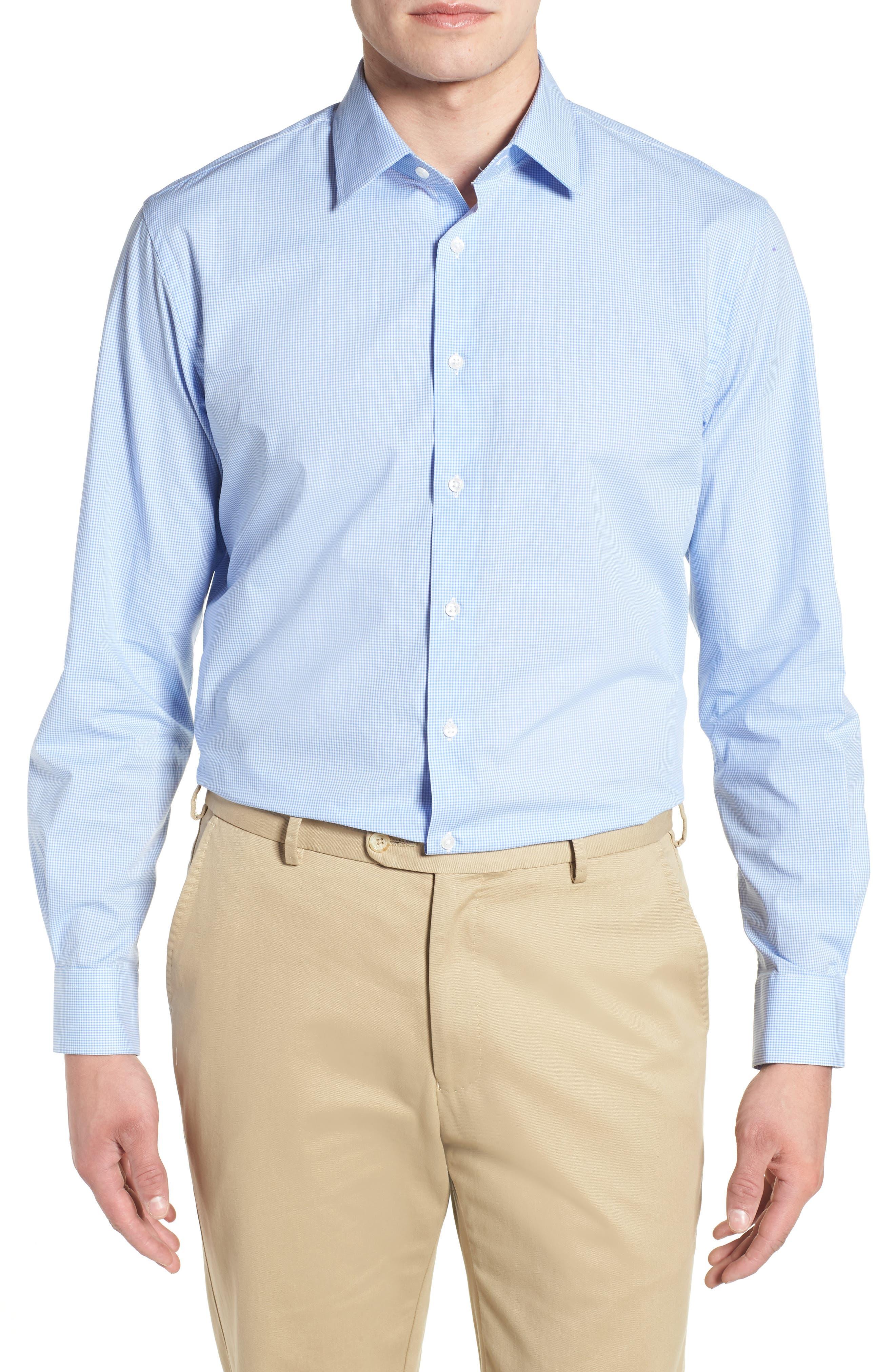 Traditional Fit Check Dress Shirt,                         Main,                         color, Blue Cornflower