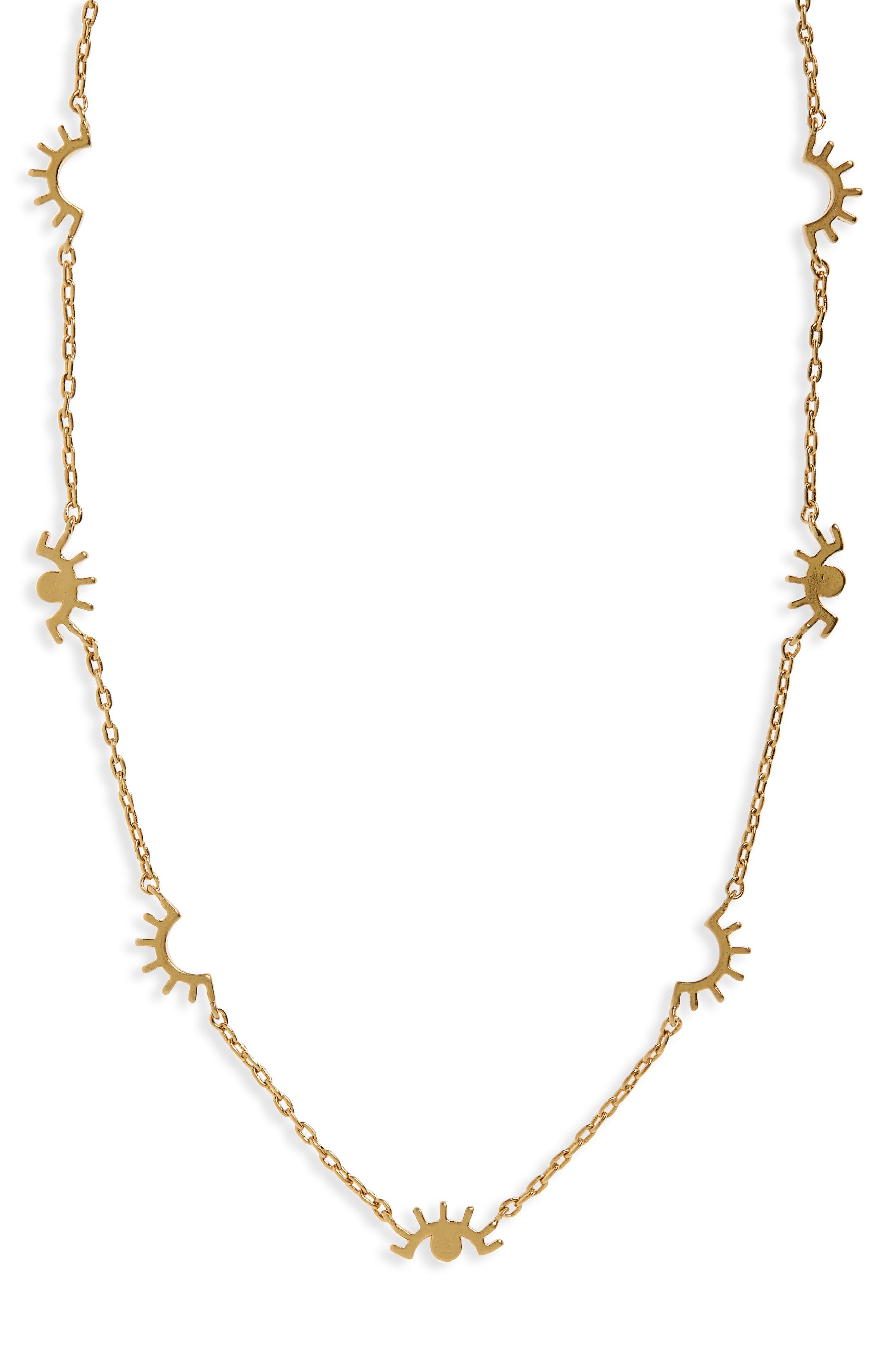 Eye Charm Necklace,                             Main thumbnail 1, color,                             Vintage Gold