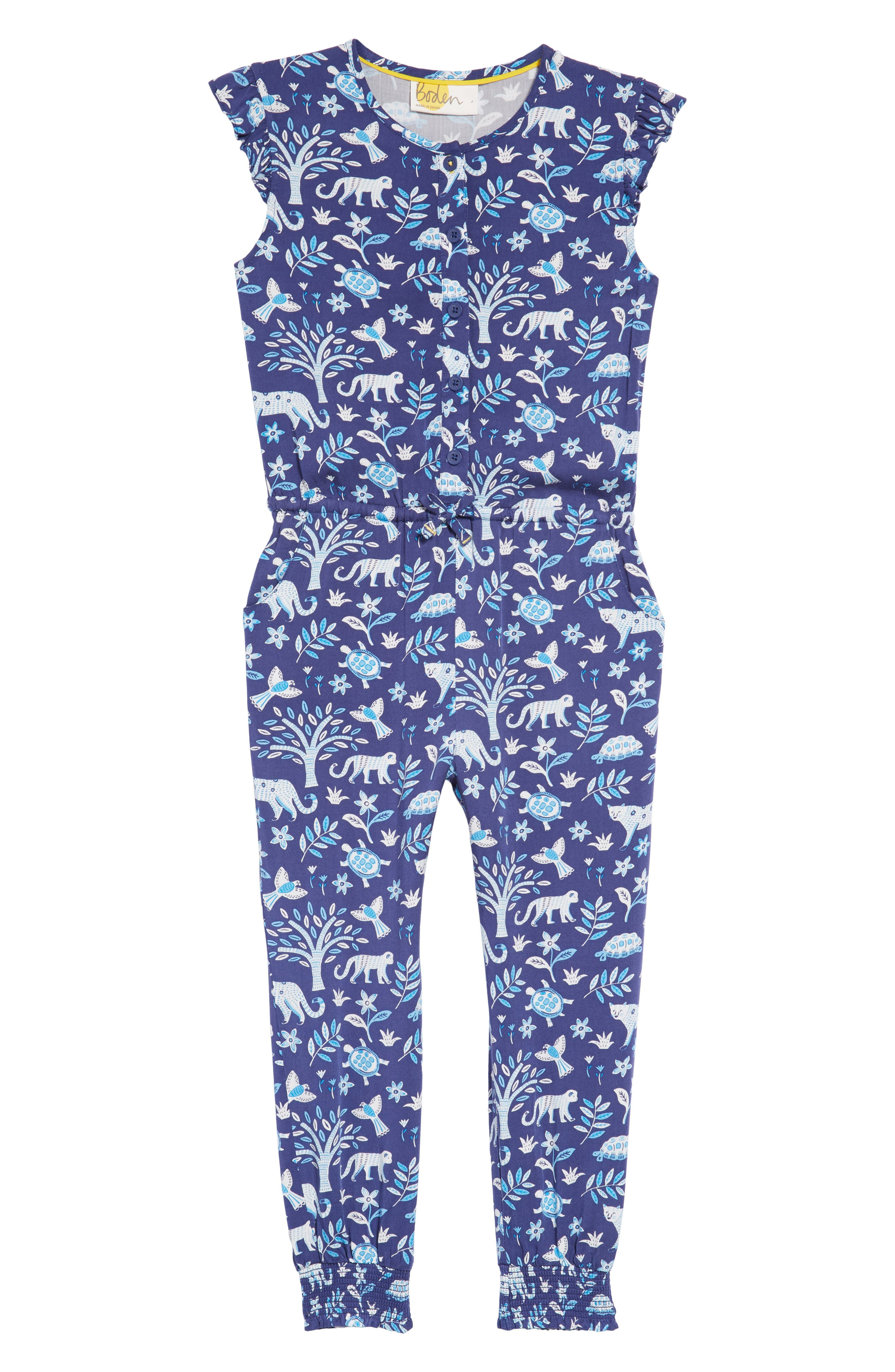 Flutter Sleeve Jumpsuit,                             Main thumbnail 1, color,                             Starboard Blue Islan