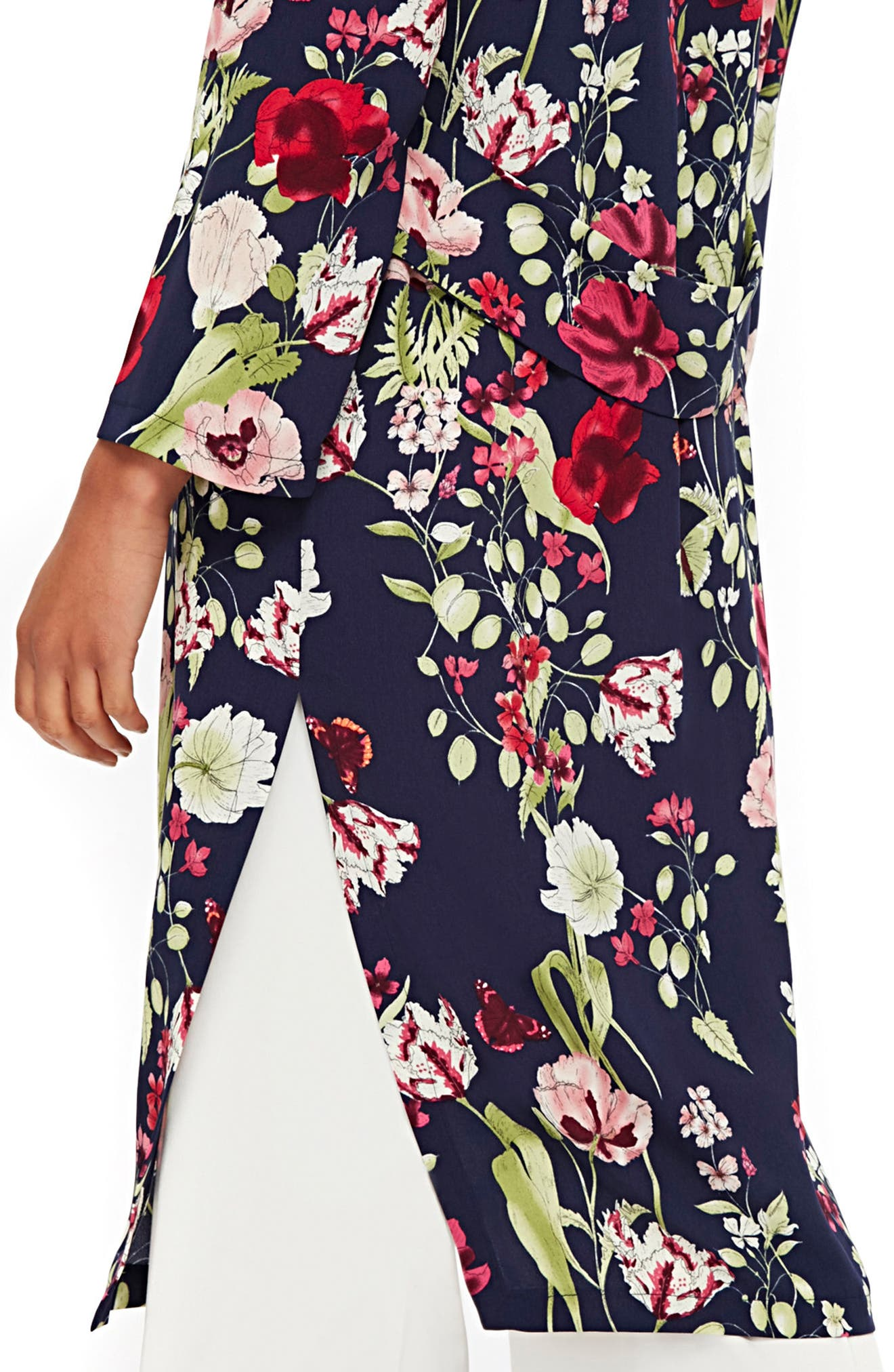 Floral Print Duster,                             Alternate thumbnail 3, color,                             Navy