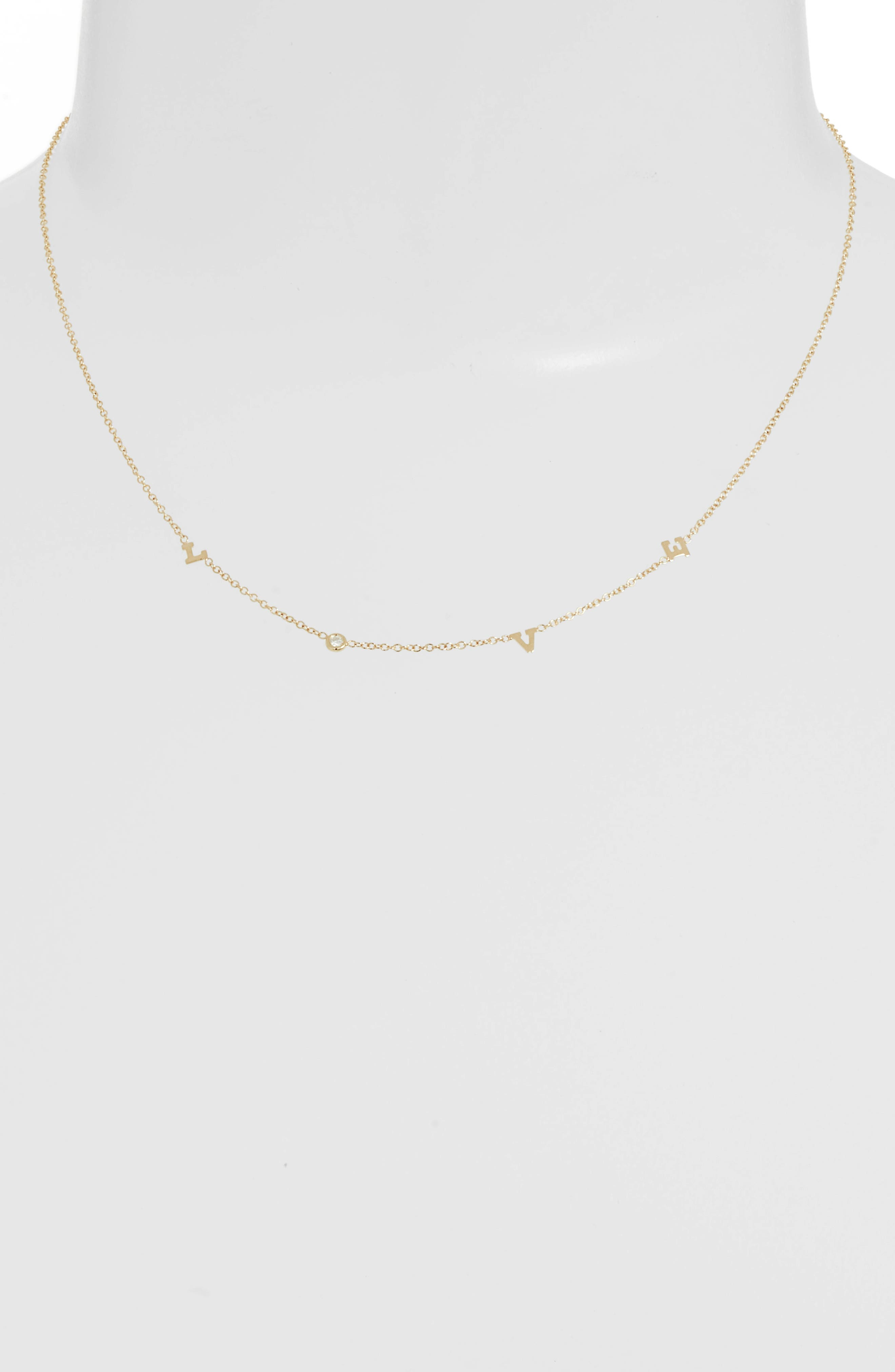 Itty Bitty Love Diamond Necklace,                             Main thumbnail 1, color,                             Yellow Gold
