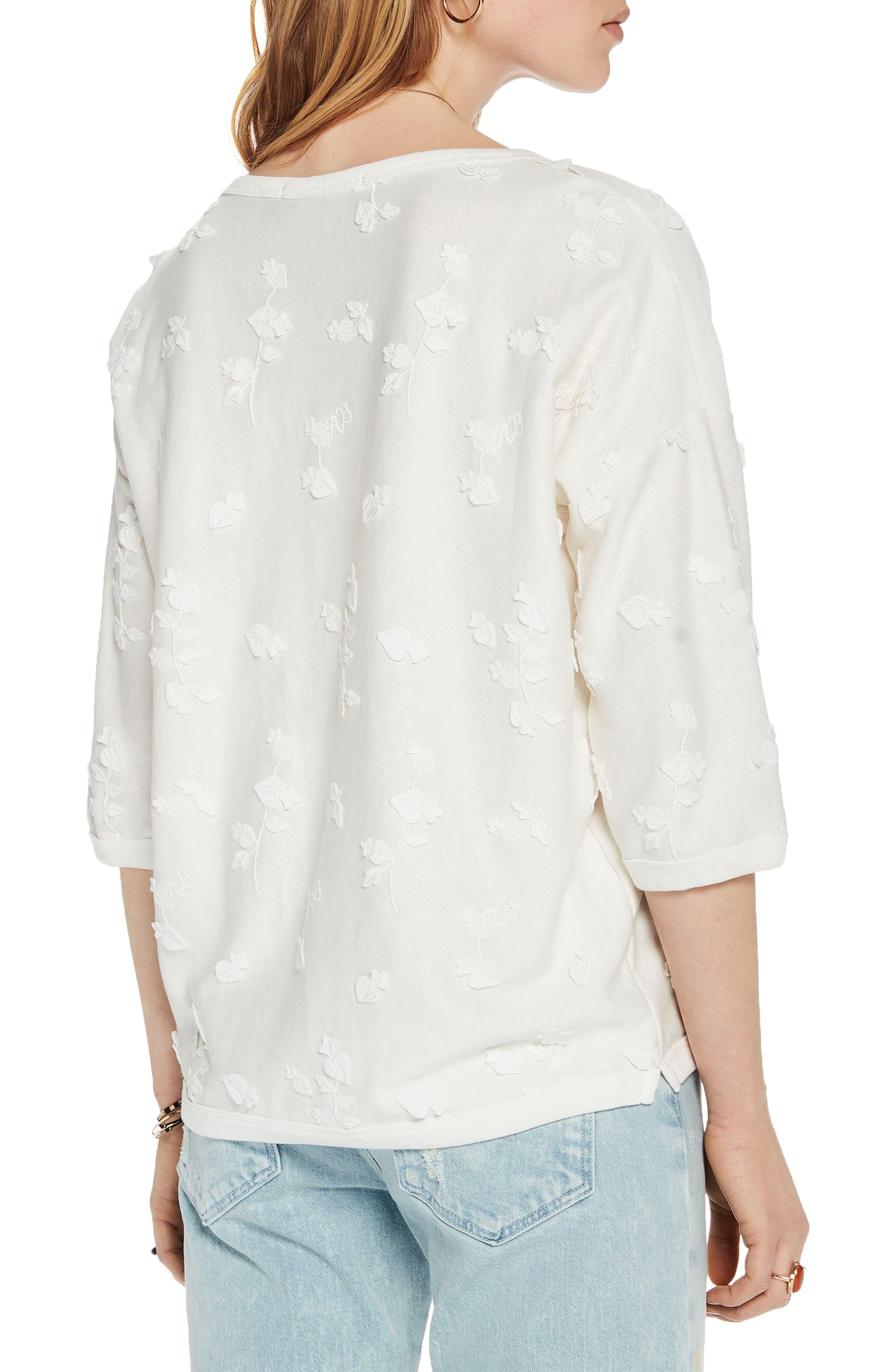 Tonal Embroidered Sweatshirt,                             Alternate thumbnail 2, color,                             01 Denim White