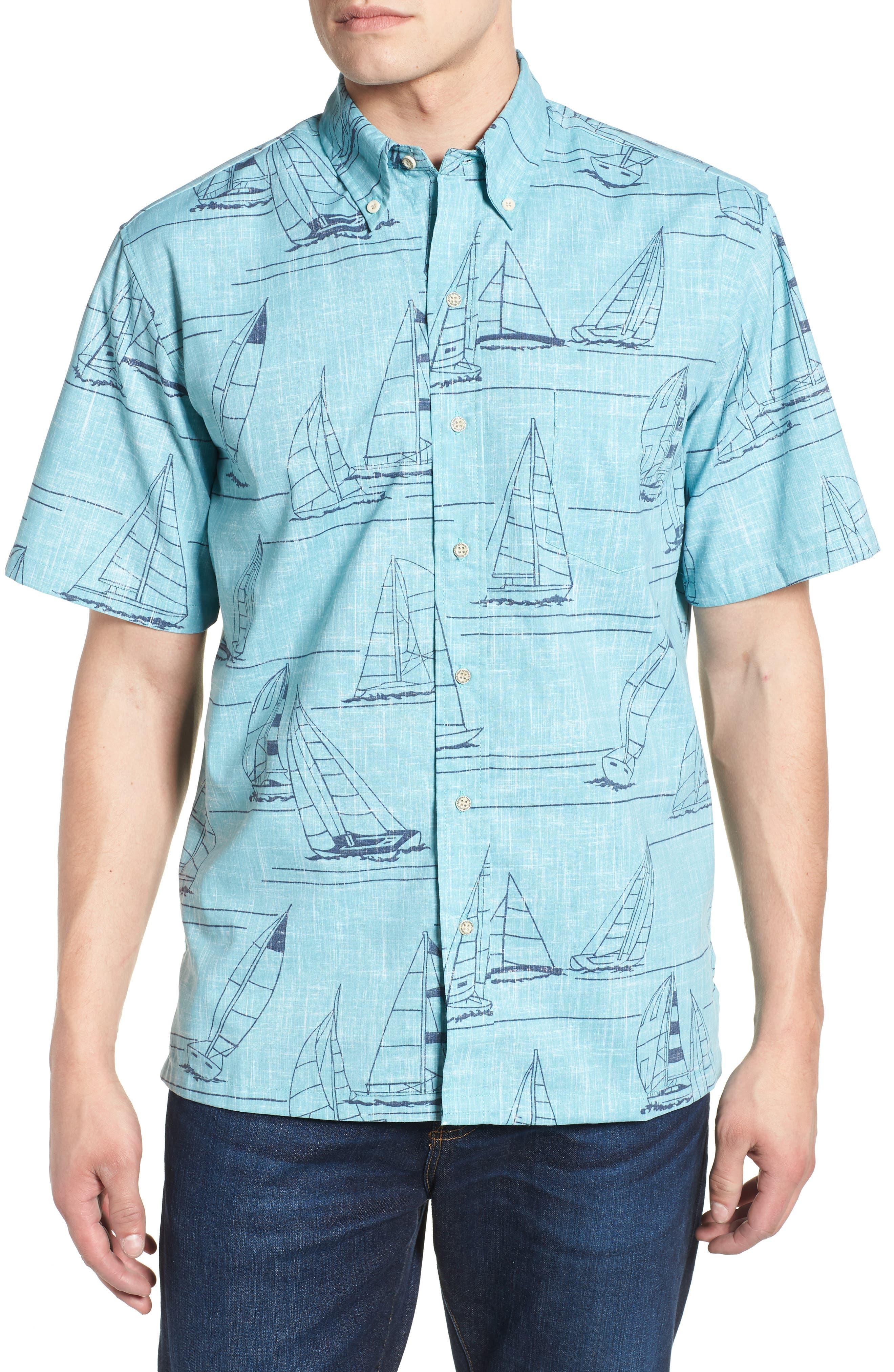 Newport 2 Honolulu Classic Fit Print Sport Shirt,                         Main,                         color, Aqua